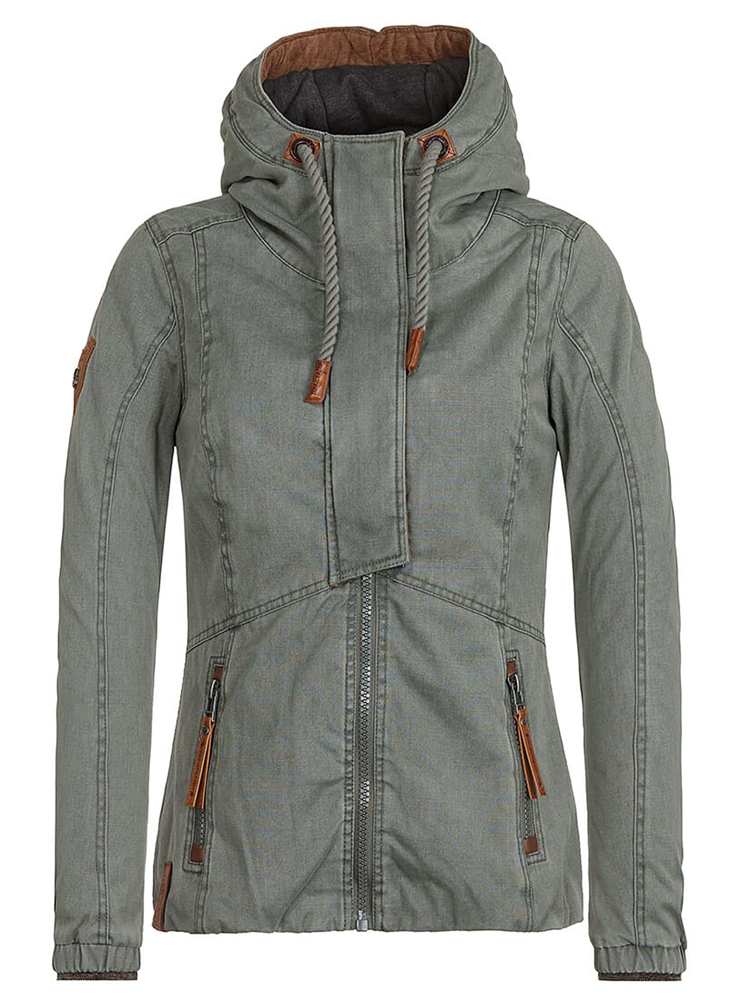 Přechodná bunda rezavě hnědá hnědý melír khaki Naketano
