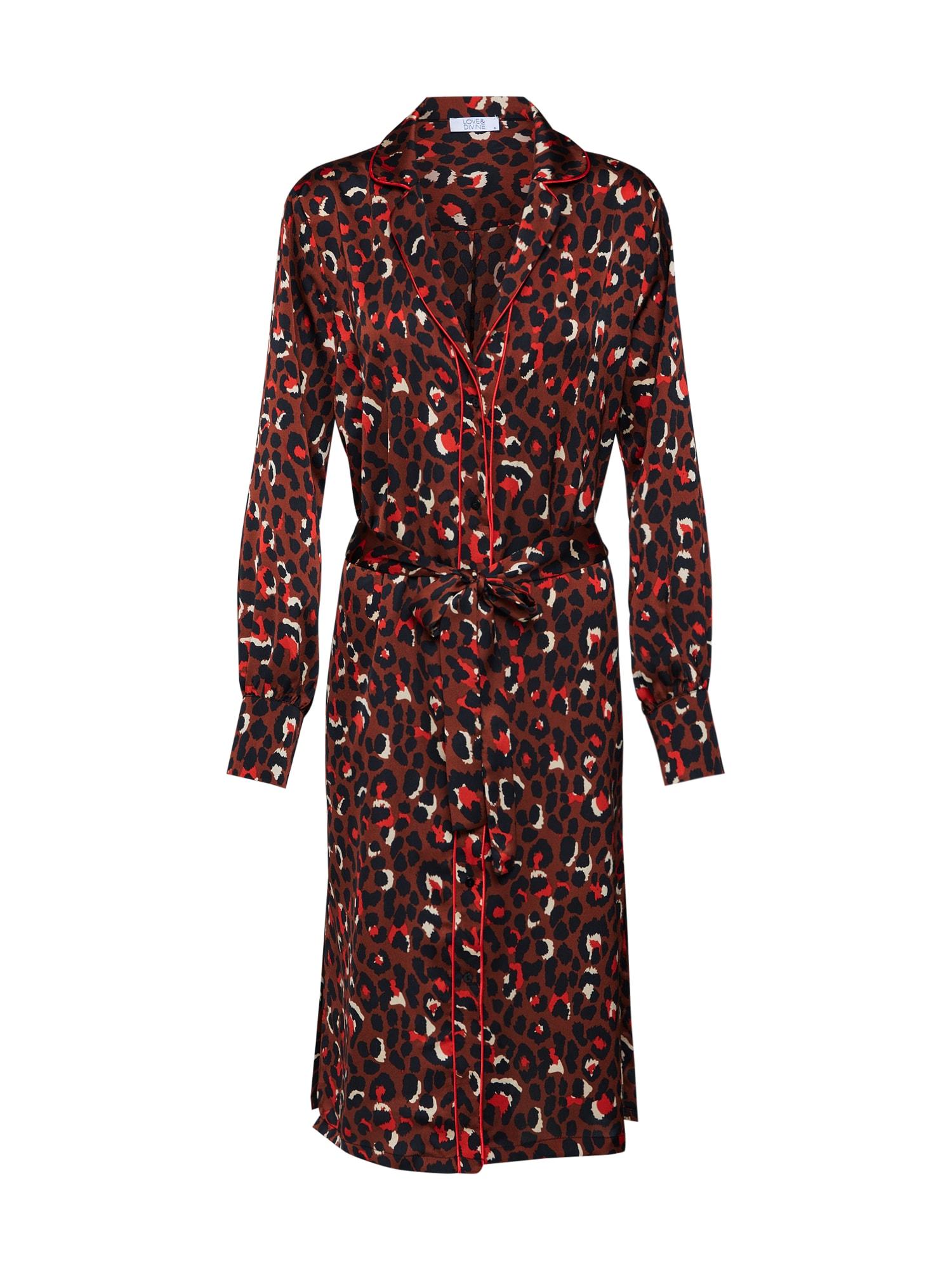 Šaty love284 hnědá červená bílá Love & Divine