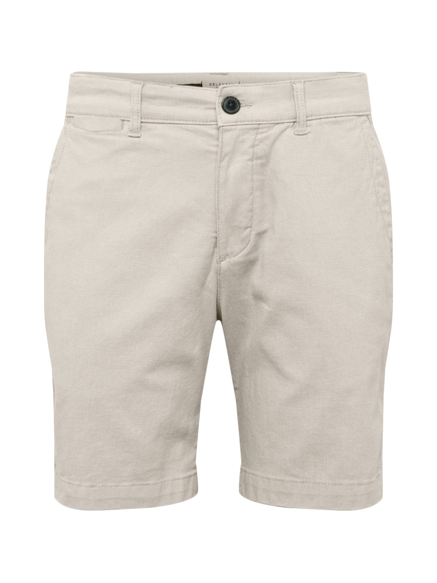 Chino kalhoty SLHSTRAIGHT-CHRIS SHORTS W CAMP krémová SELECTED HOMME