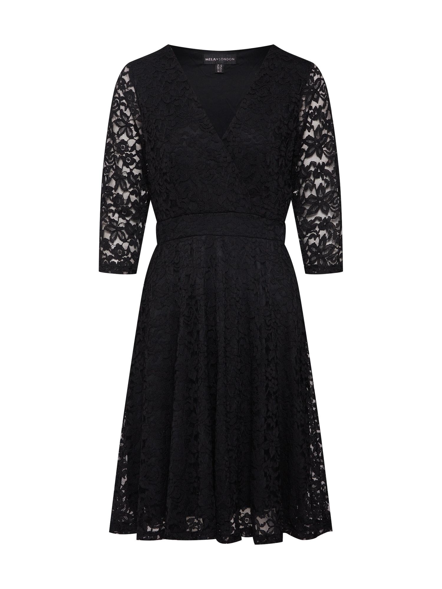Koktejlové šaty DELICATE LACE LONG SLEEVE DRESS černá Mela London