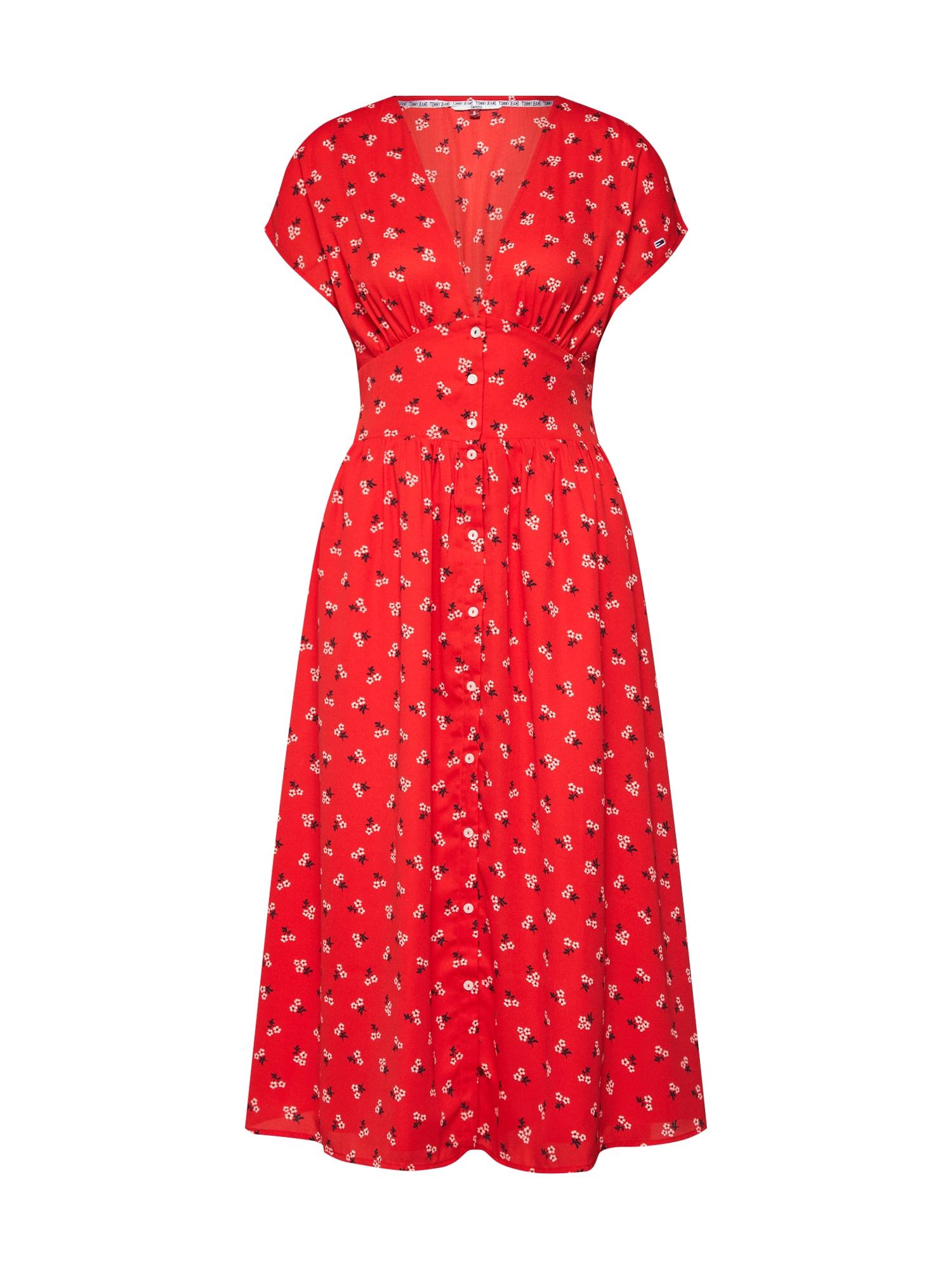 Košilové šaty TJW WAIST DETAIL MIDI DRESS mix barev červená Tommy Jeans