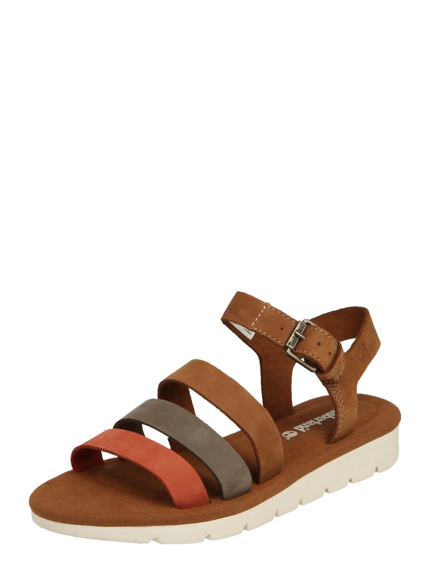 Páskové sandály Lottie Lou 3-Band Sandal hnědá kámen červená TIMBERLAND