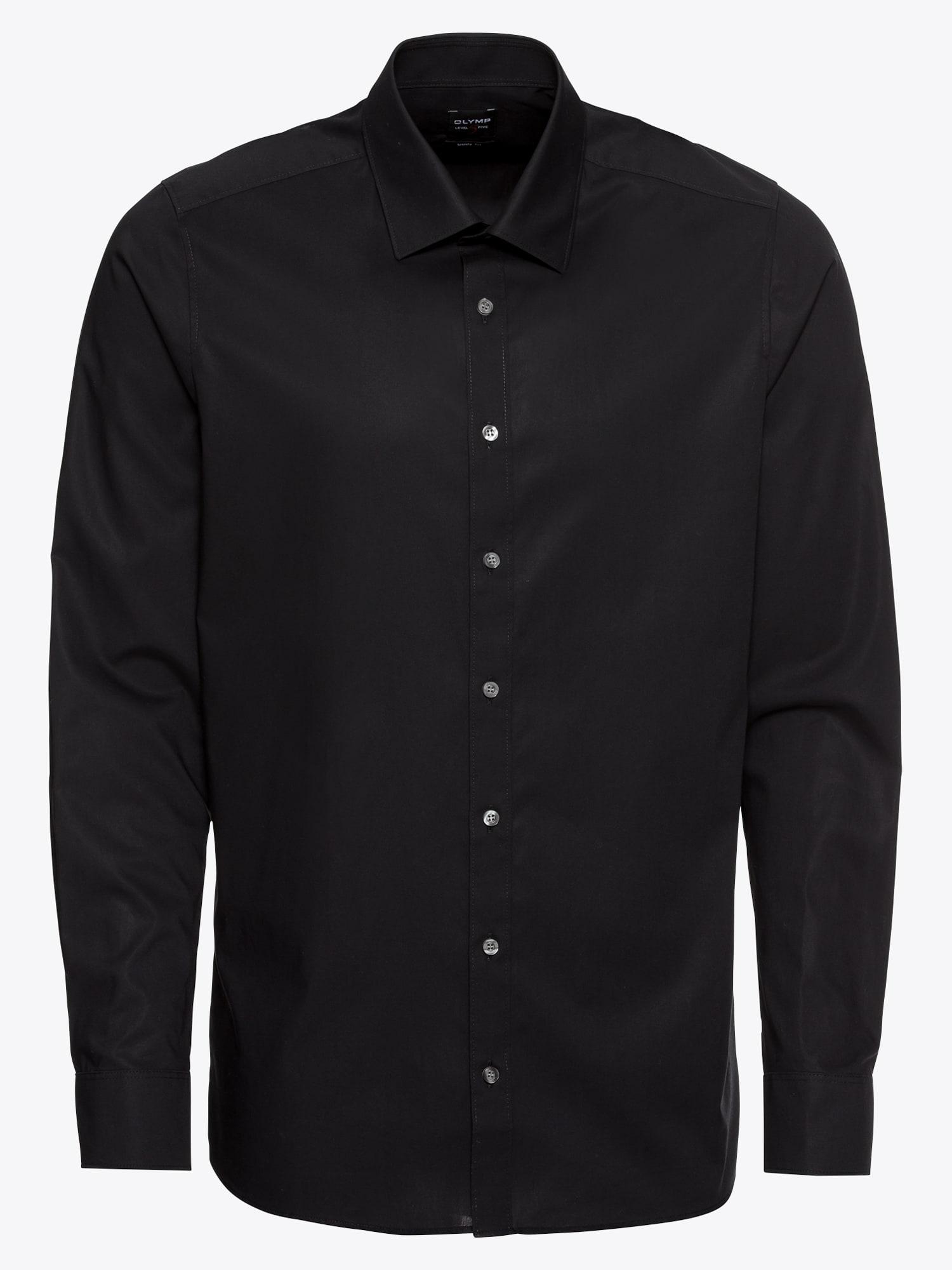 OLYMP, Heren Zakelijk overhemd 'Level 5 Uni Pop', zwart