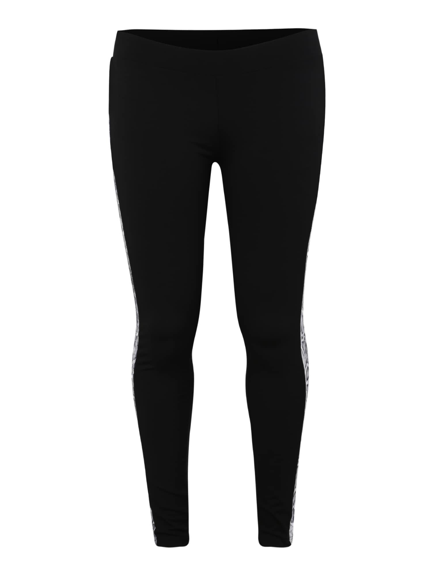 Legíny Ladies Side Striped Pattern Leggings šedá černá bílá Urban Classics Curvy