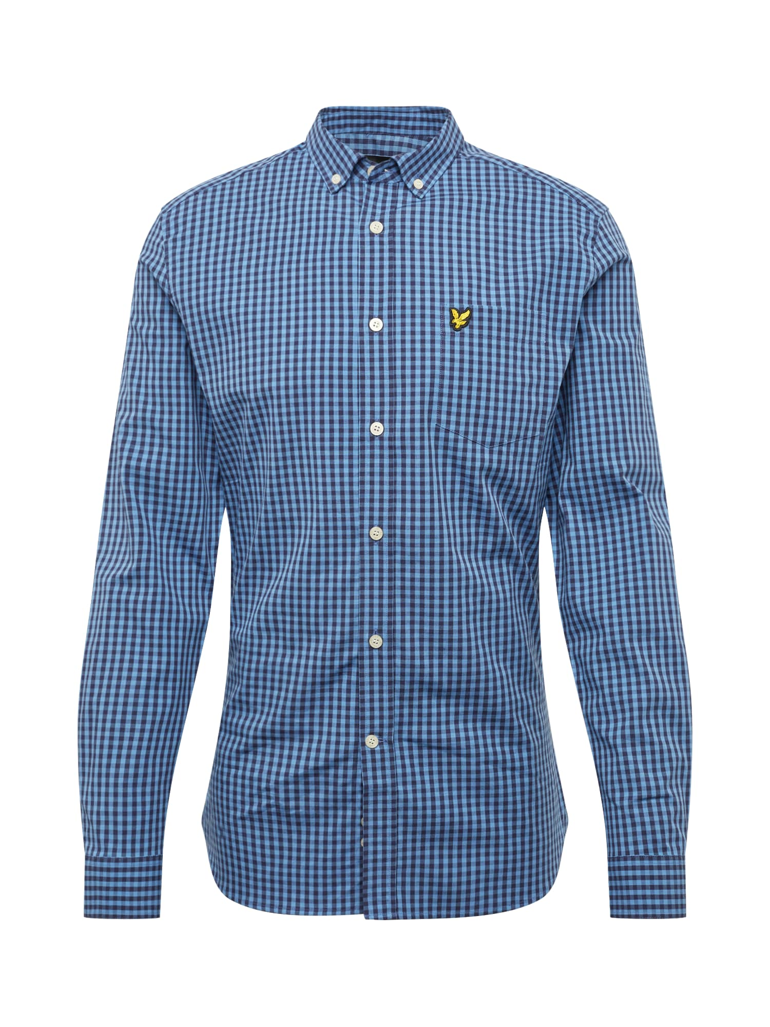 Košile LS Slim Fit Gingham Shirt modrá bílá Lyle & Scott