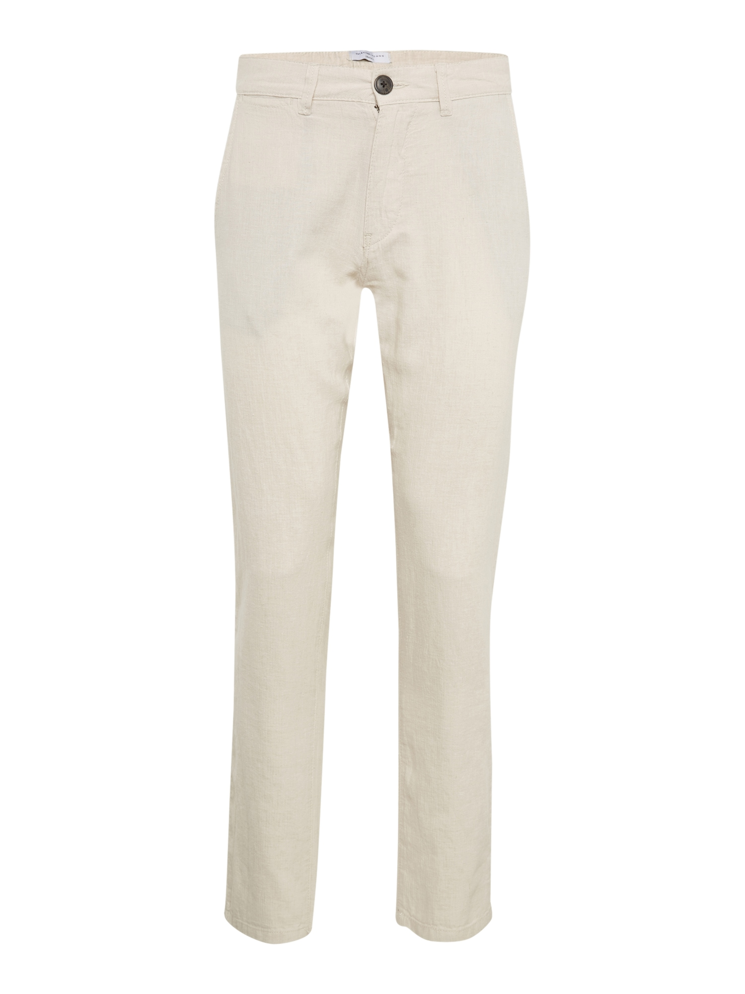 Chino kalhoty SHDJAMES OYSTER GREY LINEN TAPERED PANTS béžová SELECTED HOMME