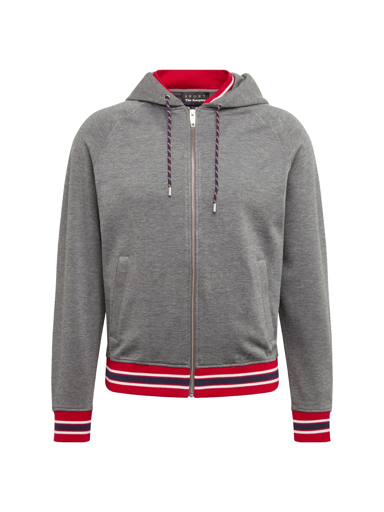 Mikina s kapucí šedá červená The Kooples