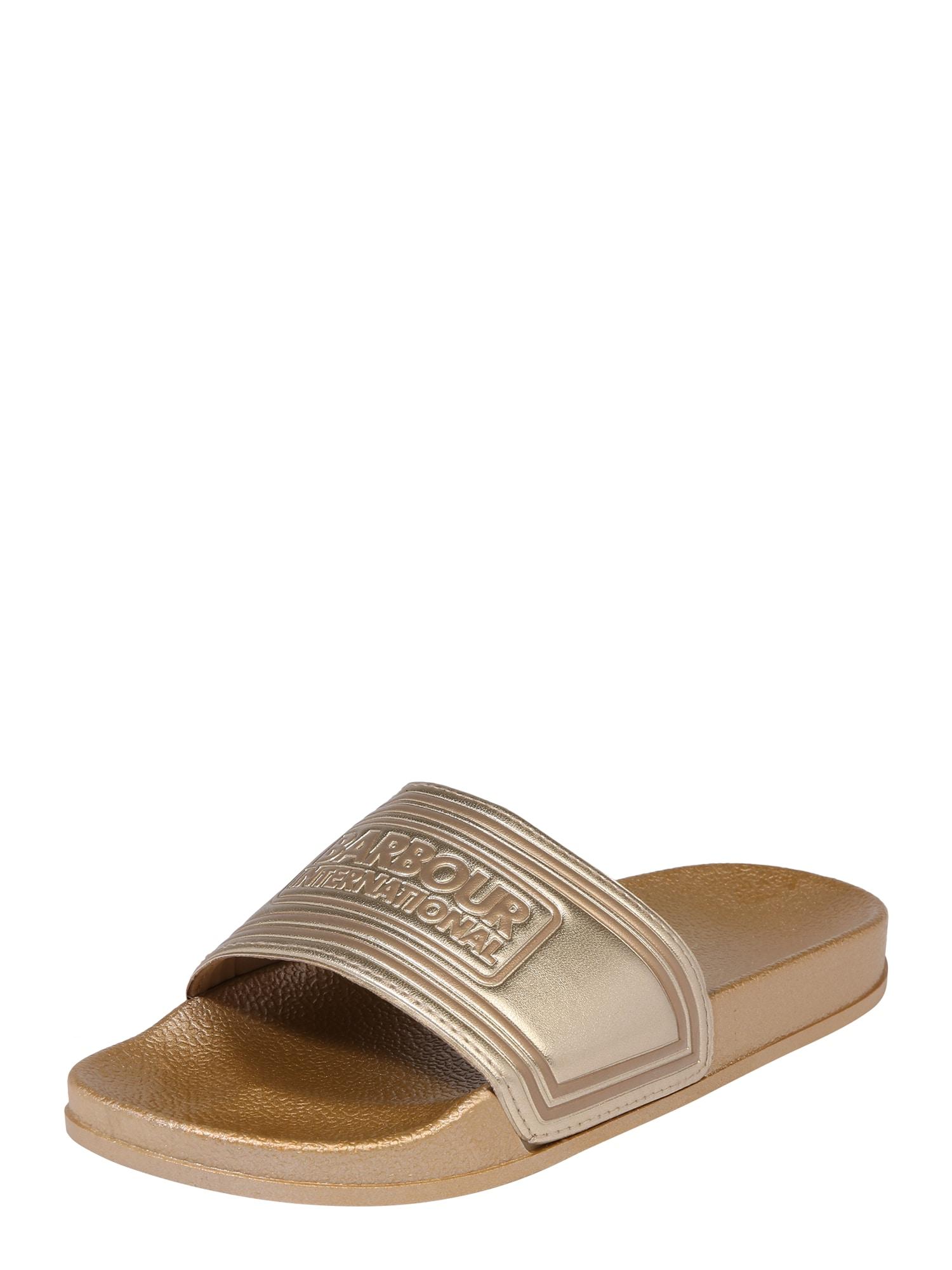 Pantofle Slider zlatá Barbour International