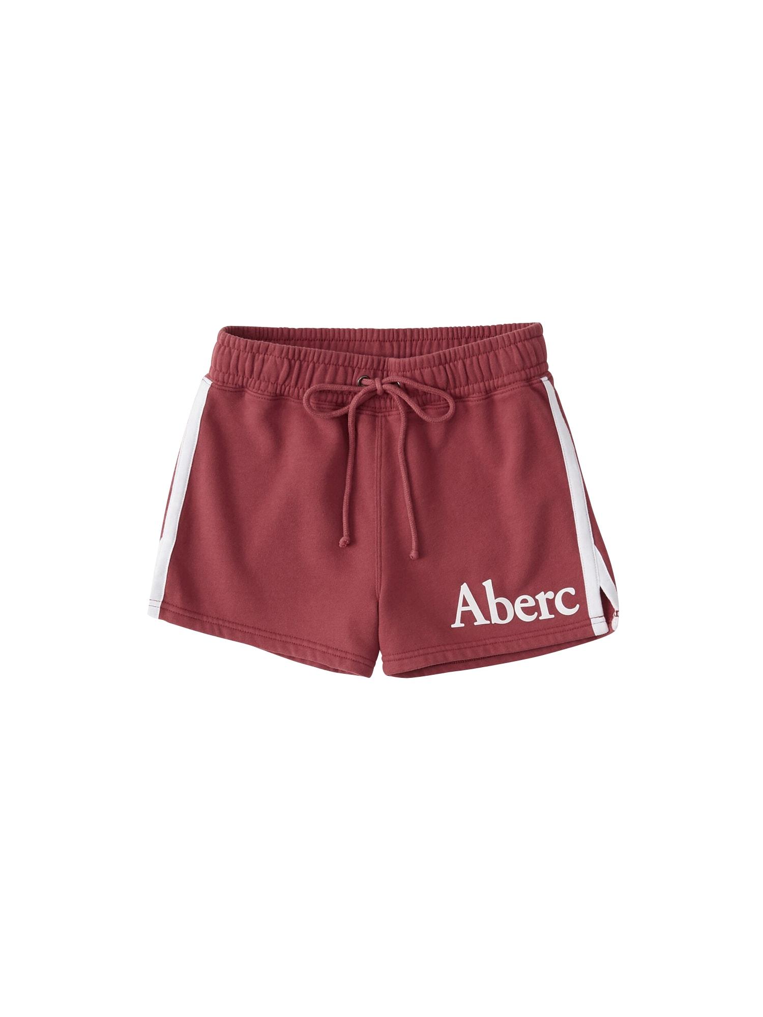 Kalhoty S119-SUMMER KNIT SHORT pastelově červená Abercrombie & Fitch
