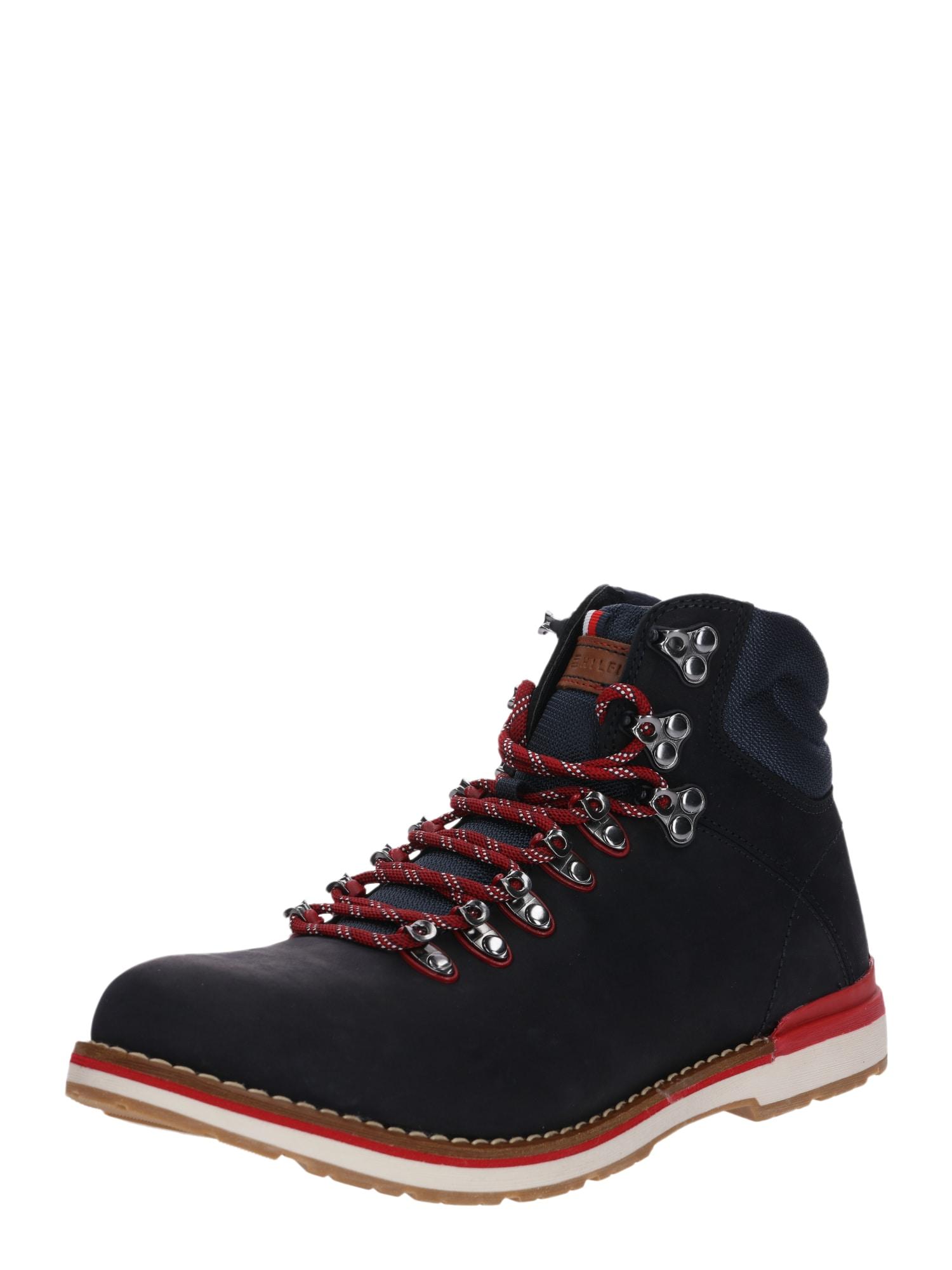 Šněrovací boty OUTDOOR HIKING DETAIL BOOT námořnická modř noční modrá červená TOMMY HILFIGER