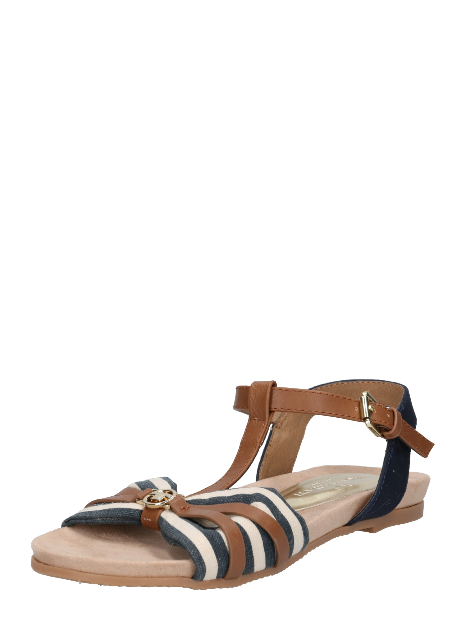 Páskové sandály námořnická modř hnědá bílá TOM TAILOR