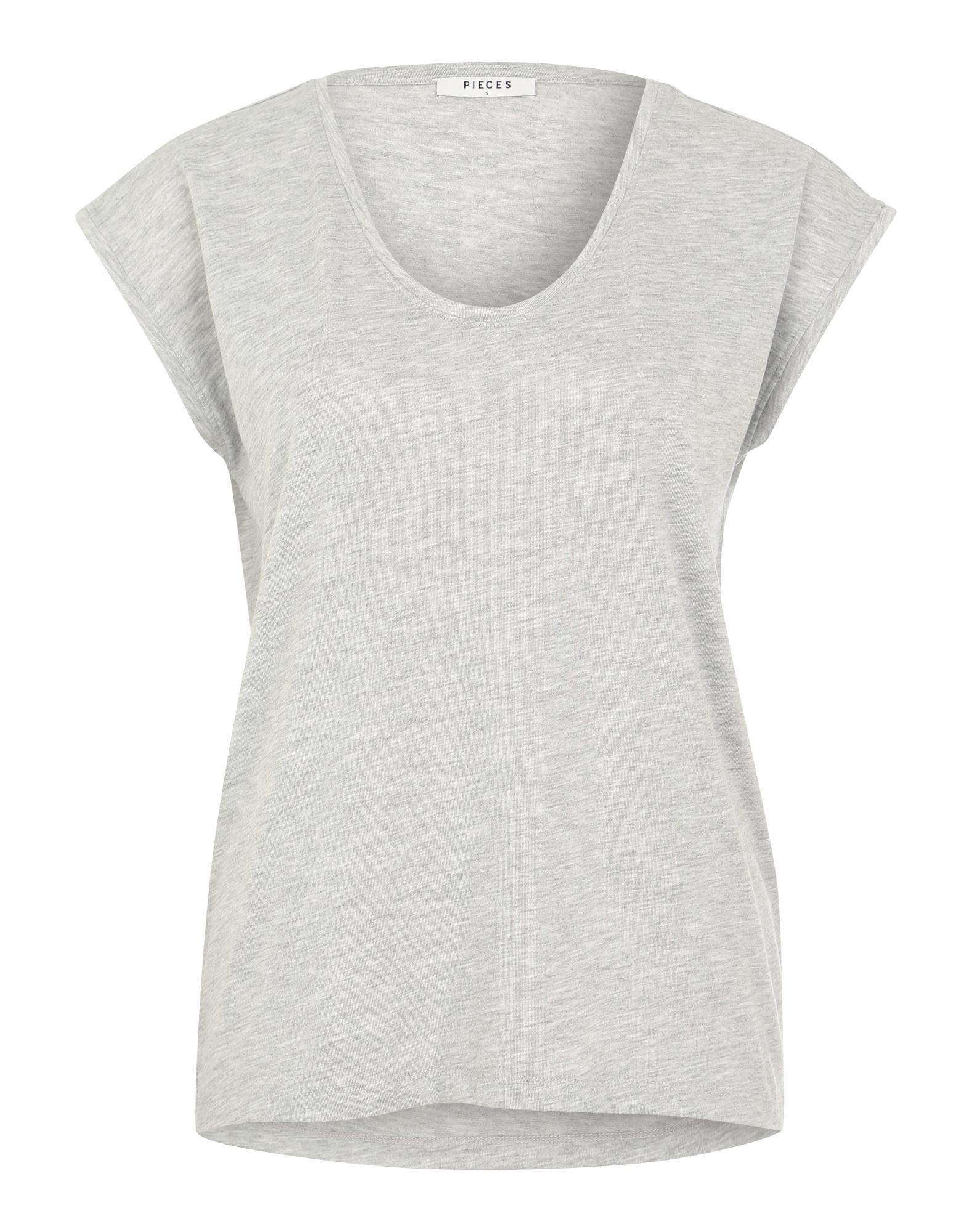 Tričko Billo šedý melír PIECES