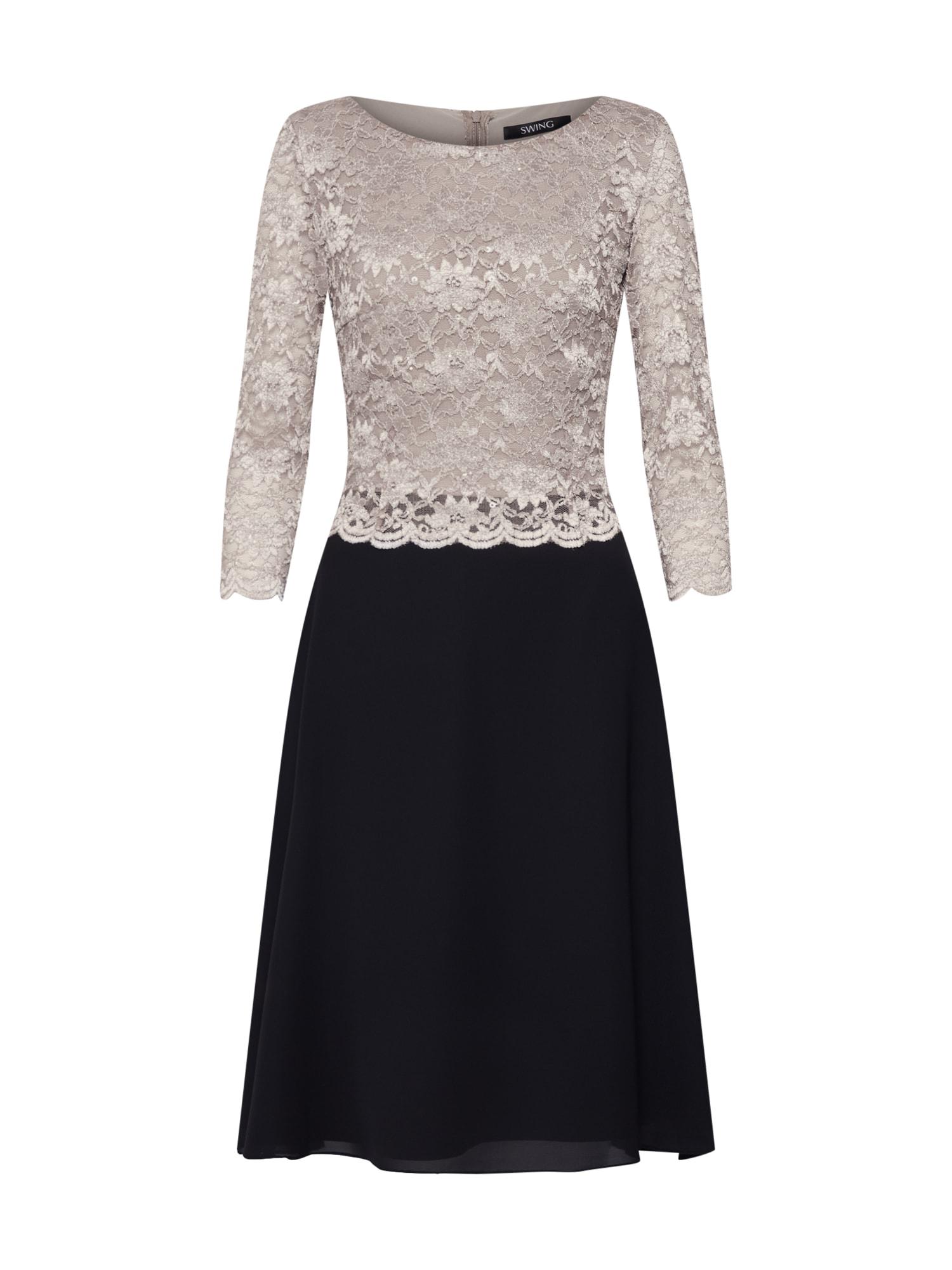 Koktejlové šaty světle hnědá černá bílá SWING