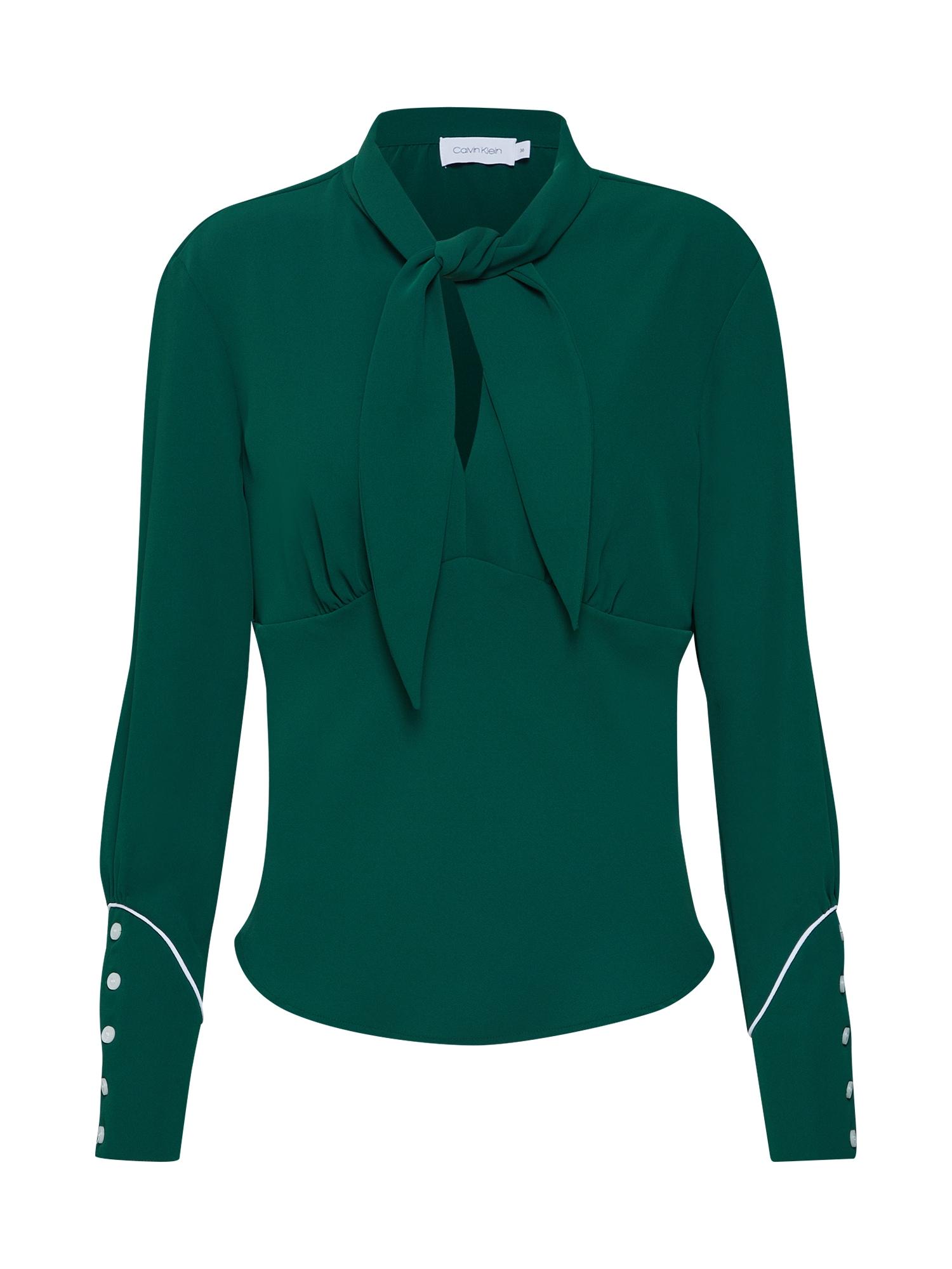 Halenka BOW TIE BLOUSE LS zelená bílá Calvin Klein