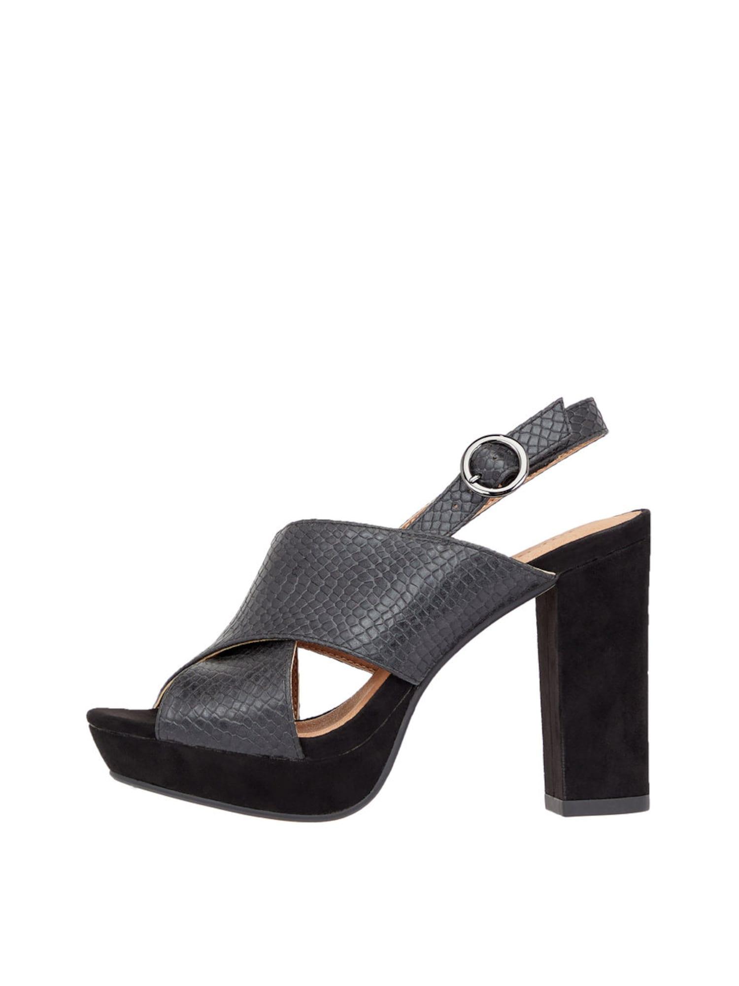 Páskové sandály grafitová černá Bianco