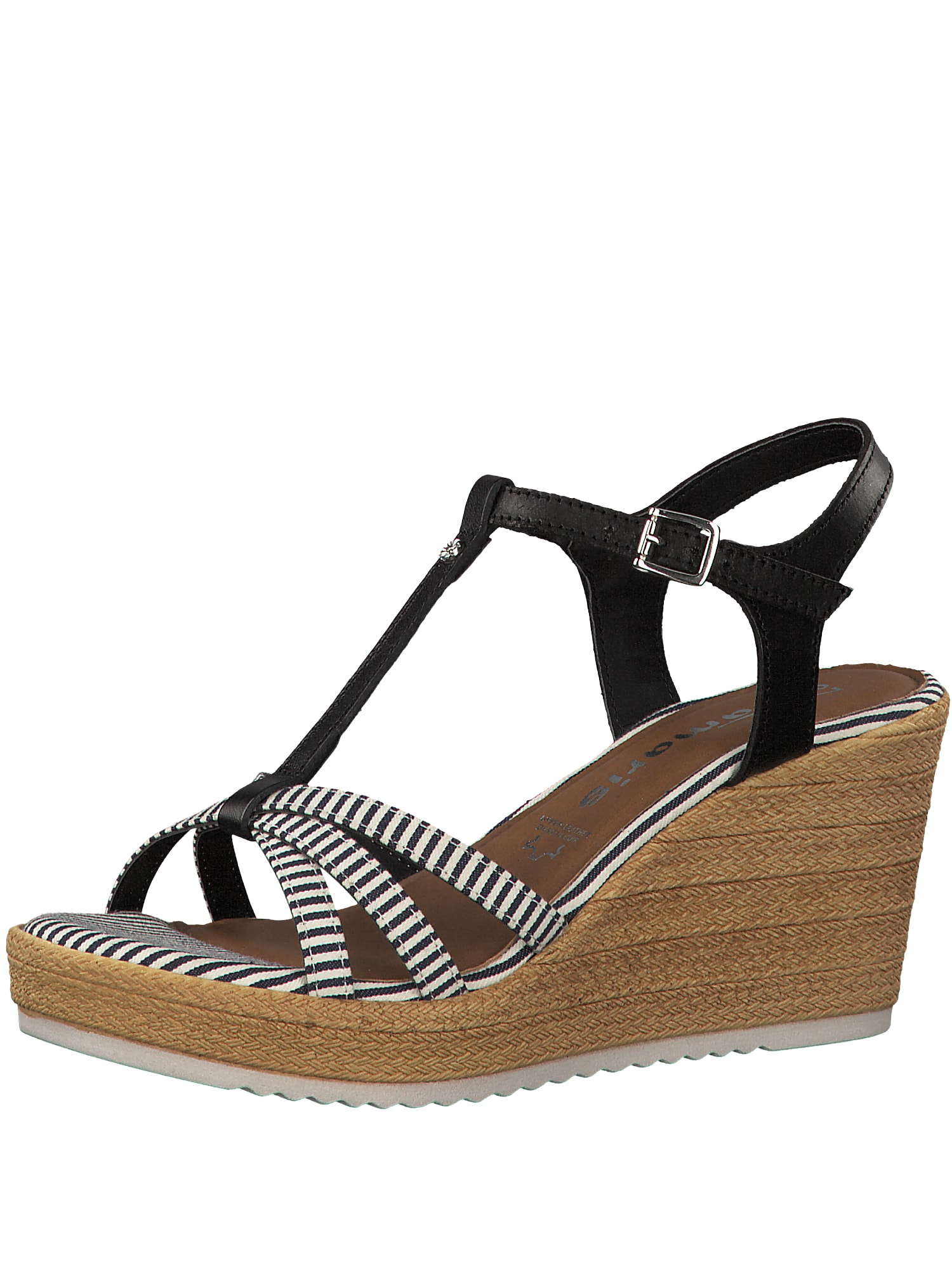 Páskové sandály černá bílá TAMARIS
