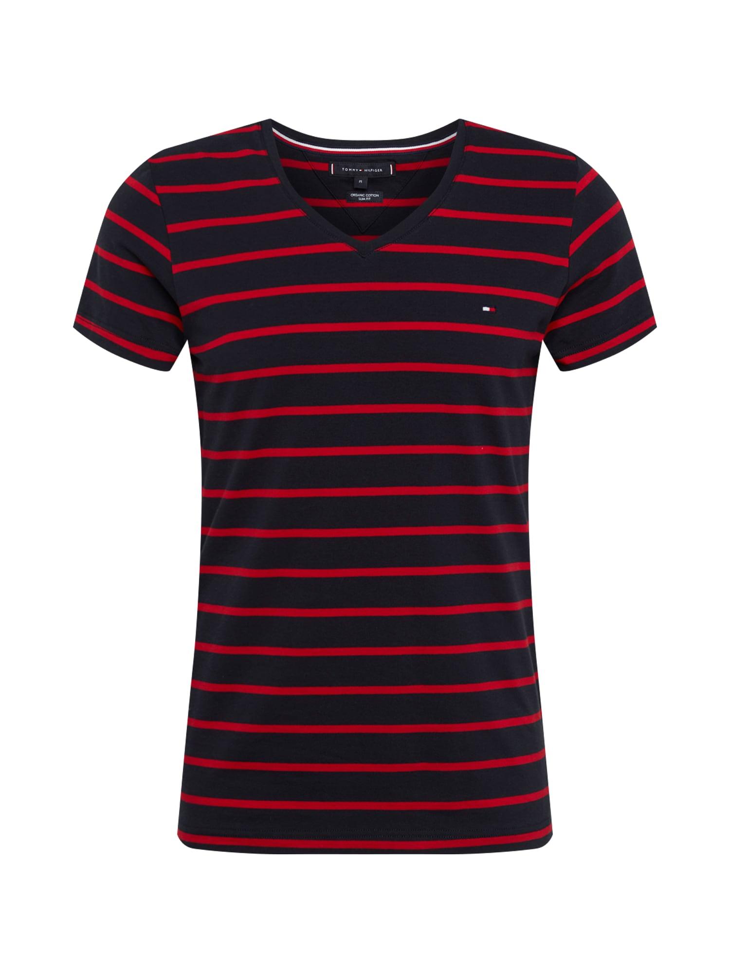 Tričko Strech Slim Fit Vneck Tee tmavě modrá červená TOMMY HILFIGER