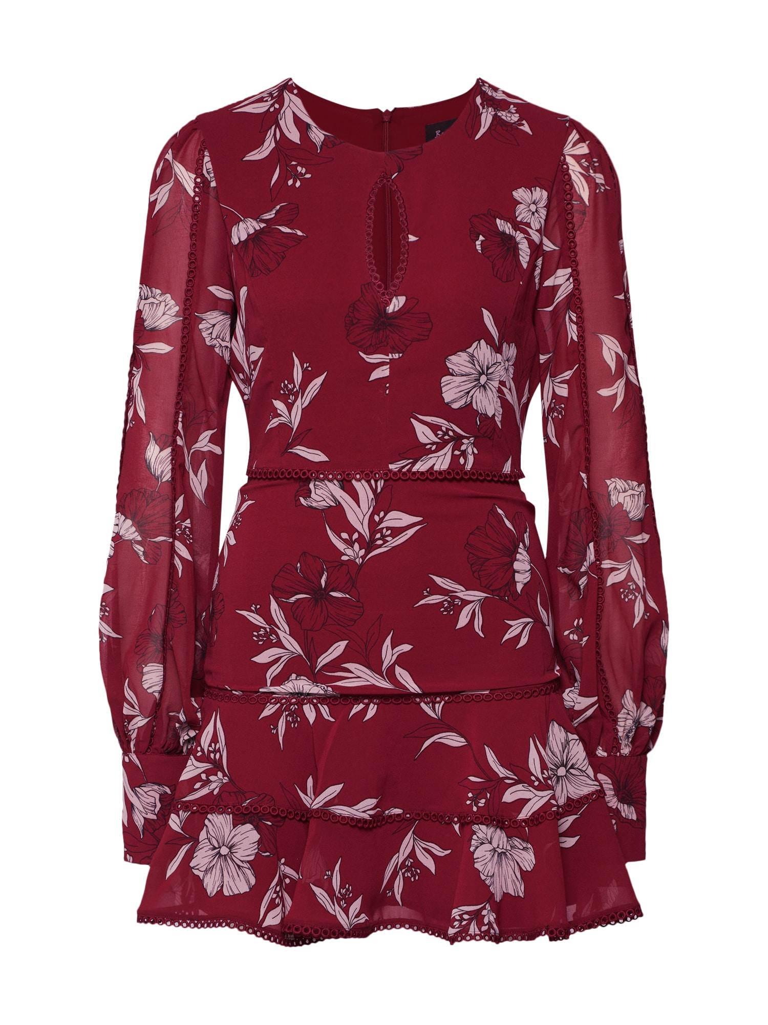 Šaty TAMMY TRIM DRESS šedobéžová tmavě červená Bardot