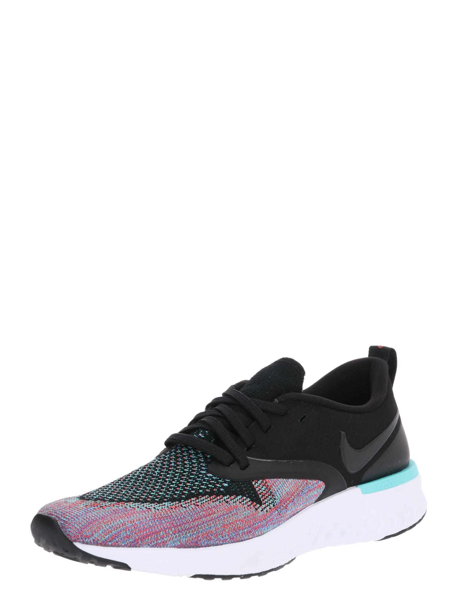Běžecká obuv Odyssey React Flyknit 2 aqua modrá fialová černá NIKE