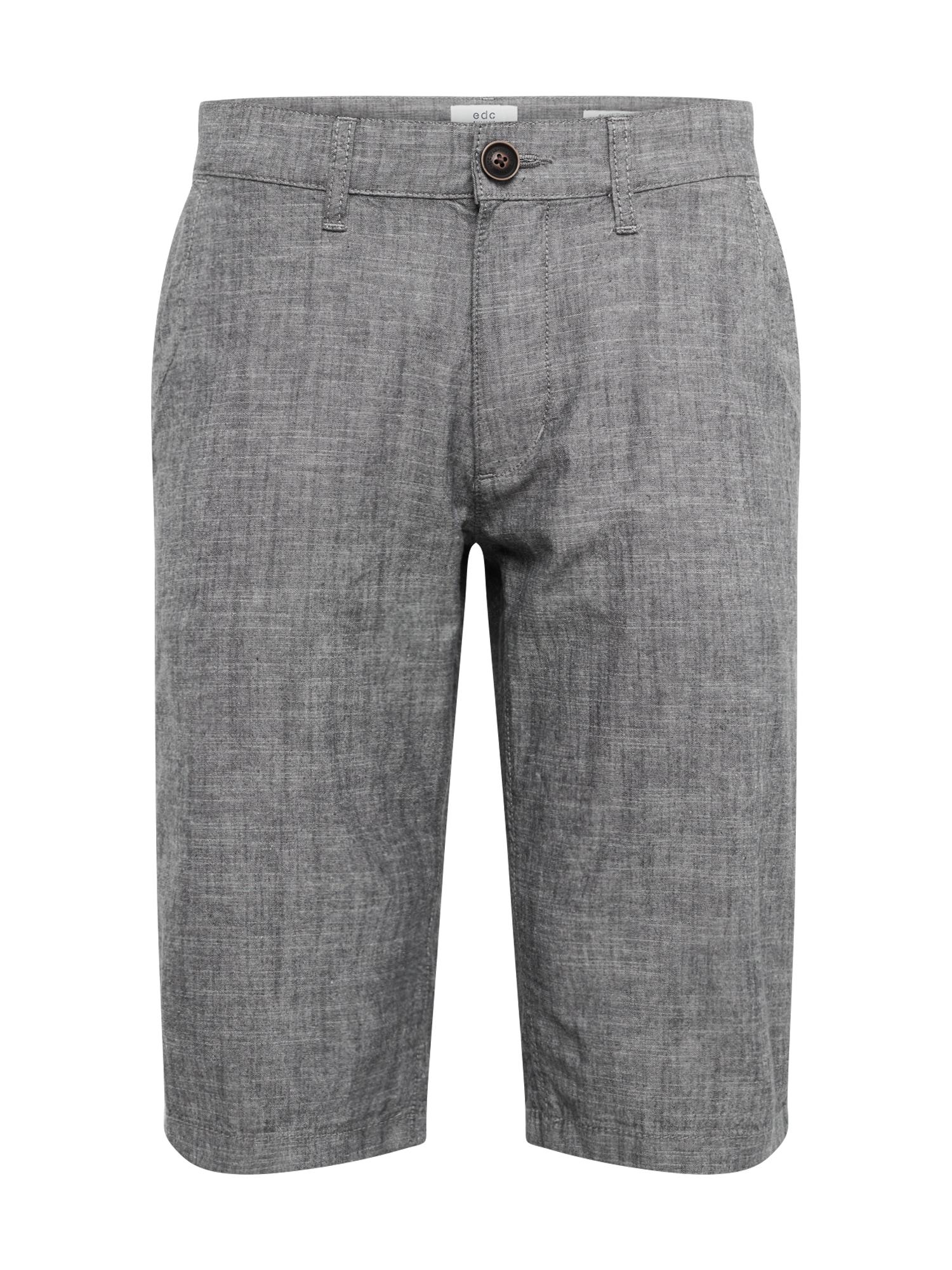 Chino kalhoty chambray tmavě šedá EDC BY ESPRIT