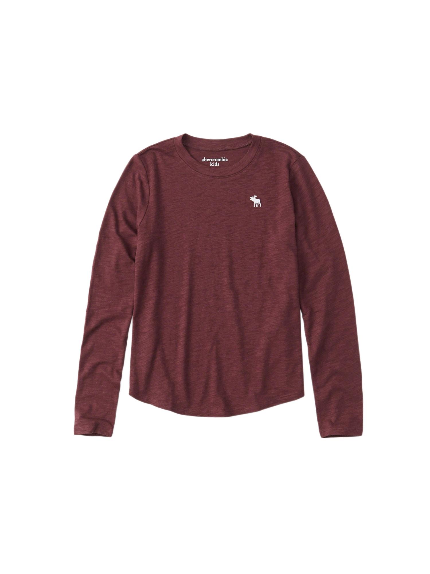 Tričko J2 LS CORE CREW TEE 5CC burgundská červeň Abercrombie & Fitch