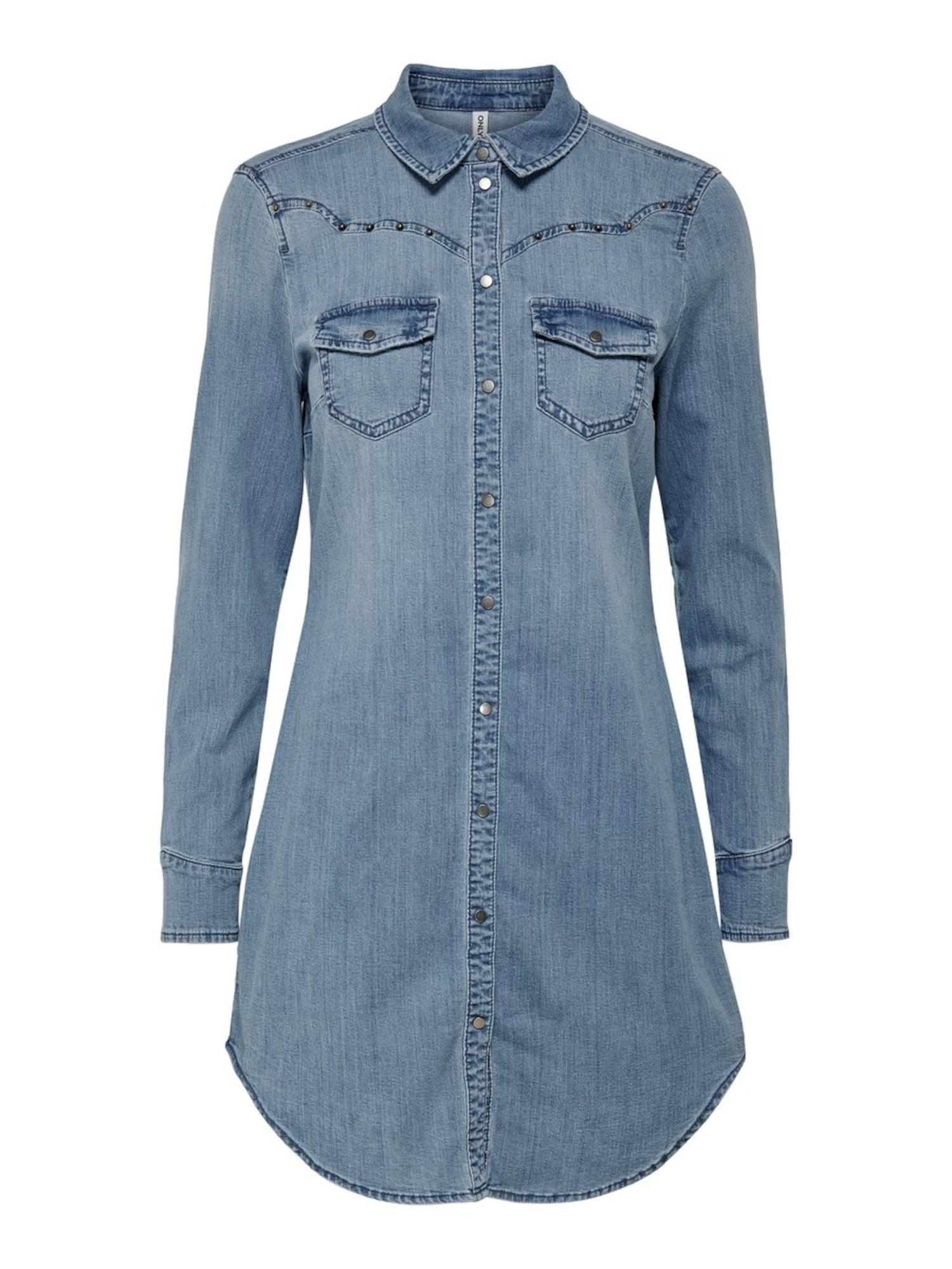 Košilové šaty modrá džínovina ONLY