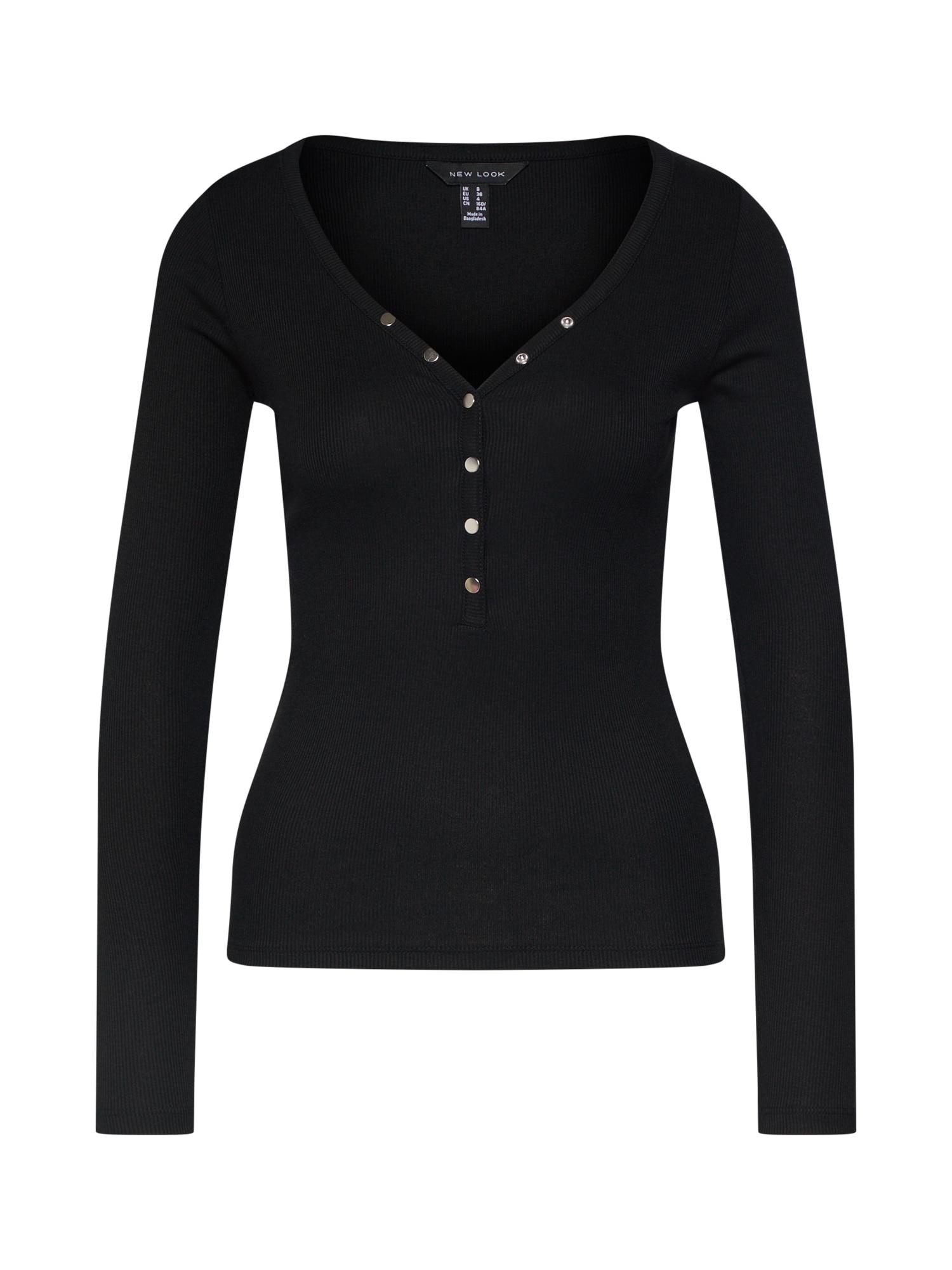 Tričko NECK POPPER černá NEW LOOK