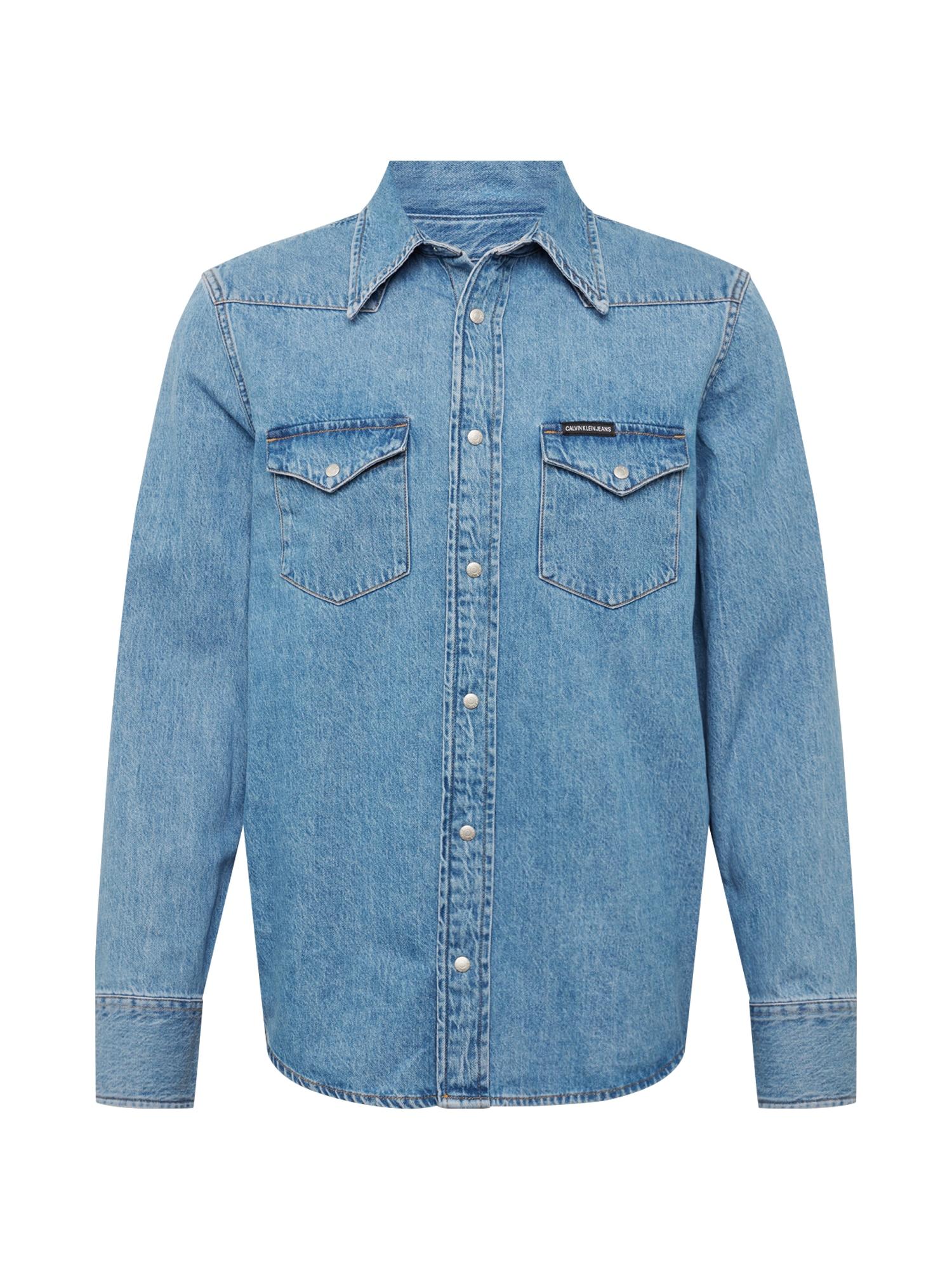 Košile modrá džínovina Calvin Klein Jeans