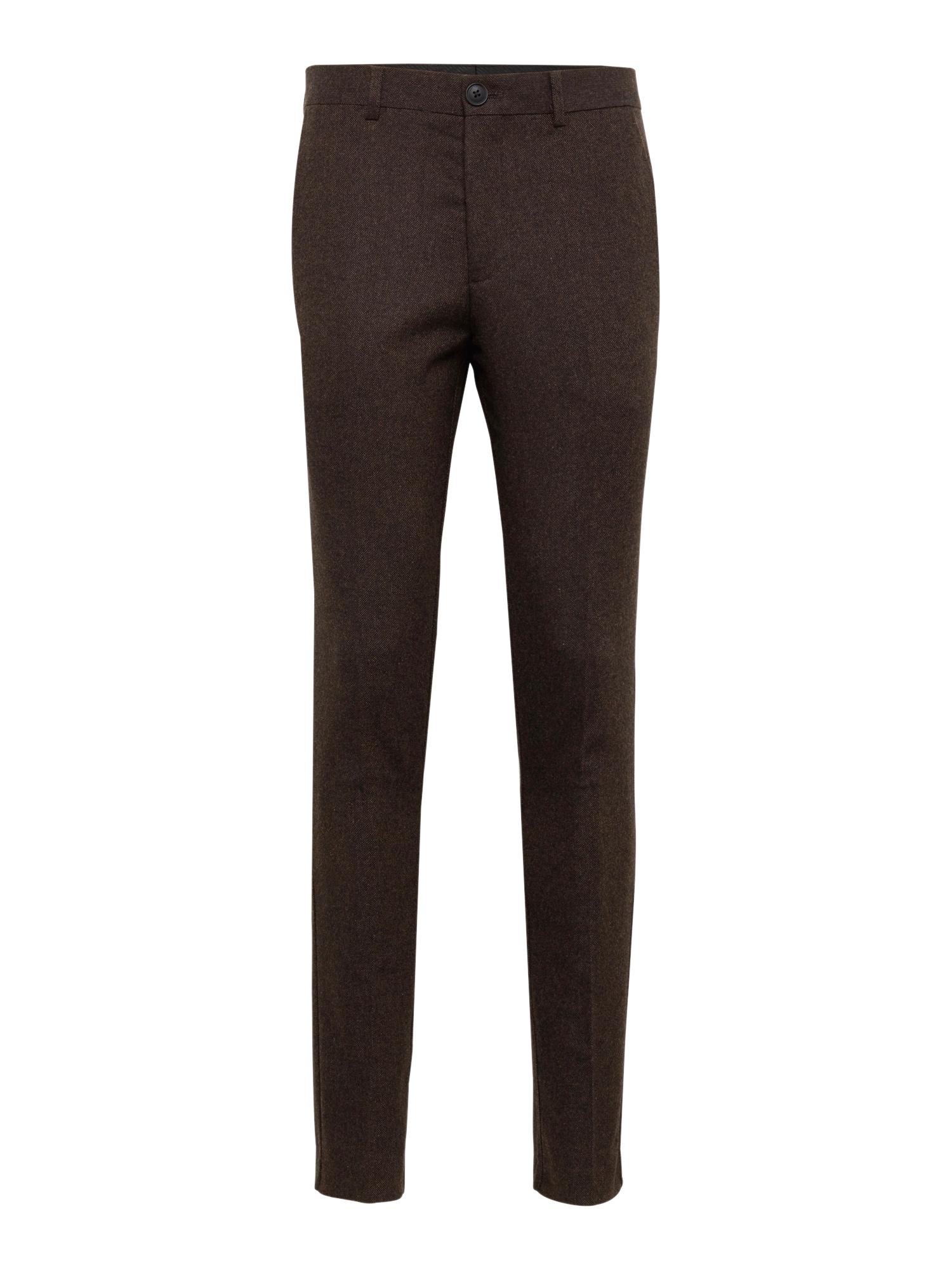 Kalhoty se sklady v pase SLHSLIM-PHANTOM PANTS B tmavě hnědá SELECTED HOMME