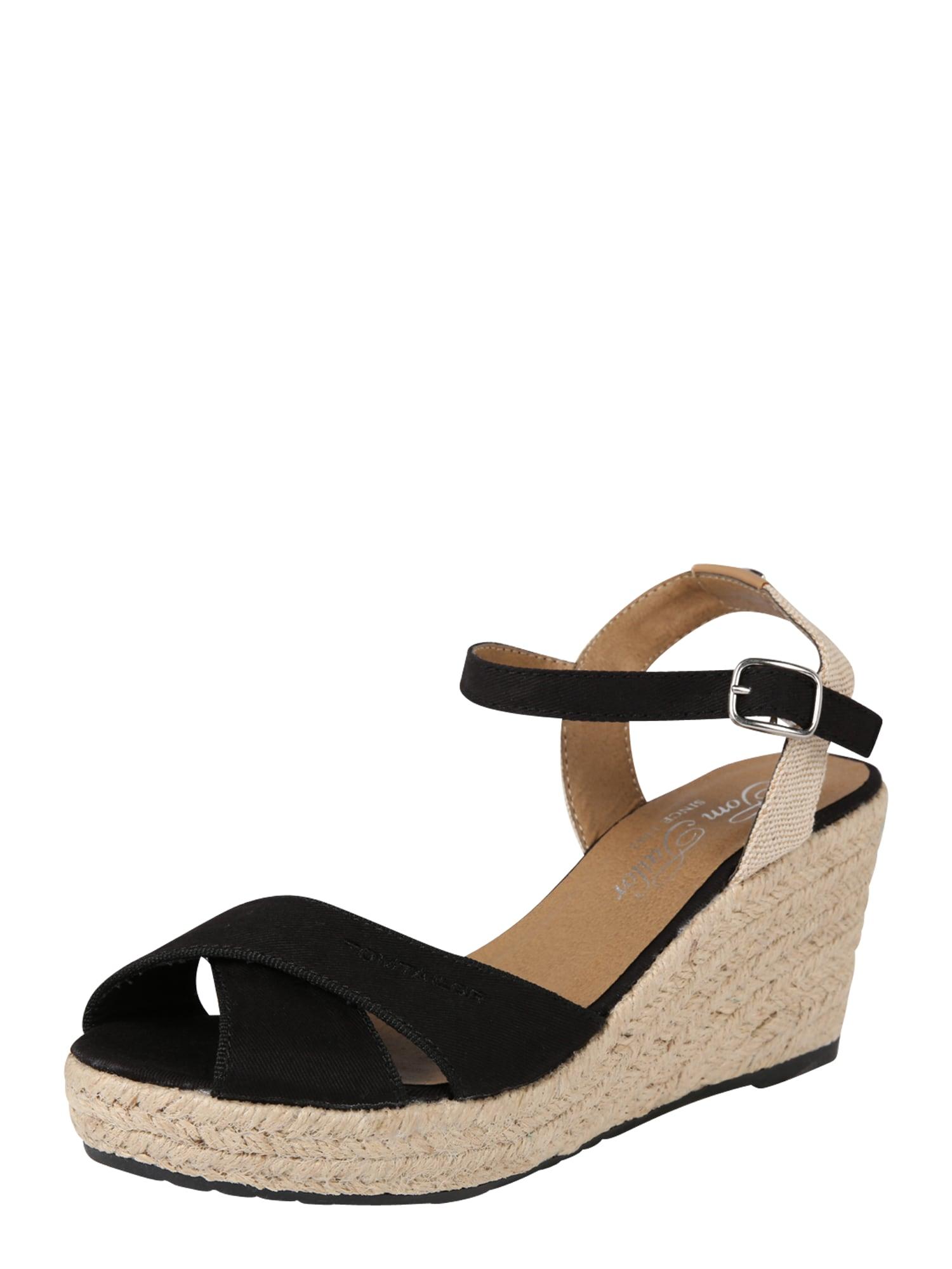 Páskové sandály béžová černá TOM TAILOR