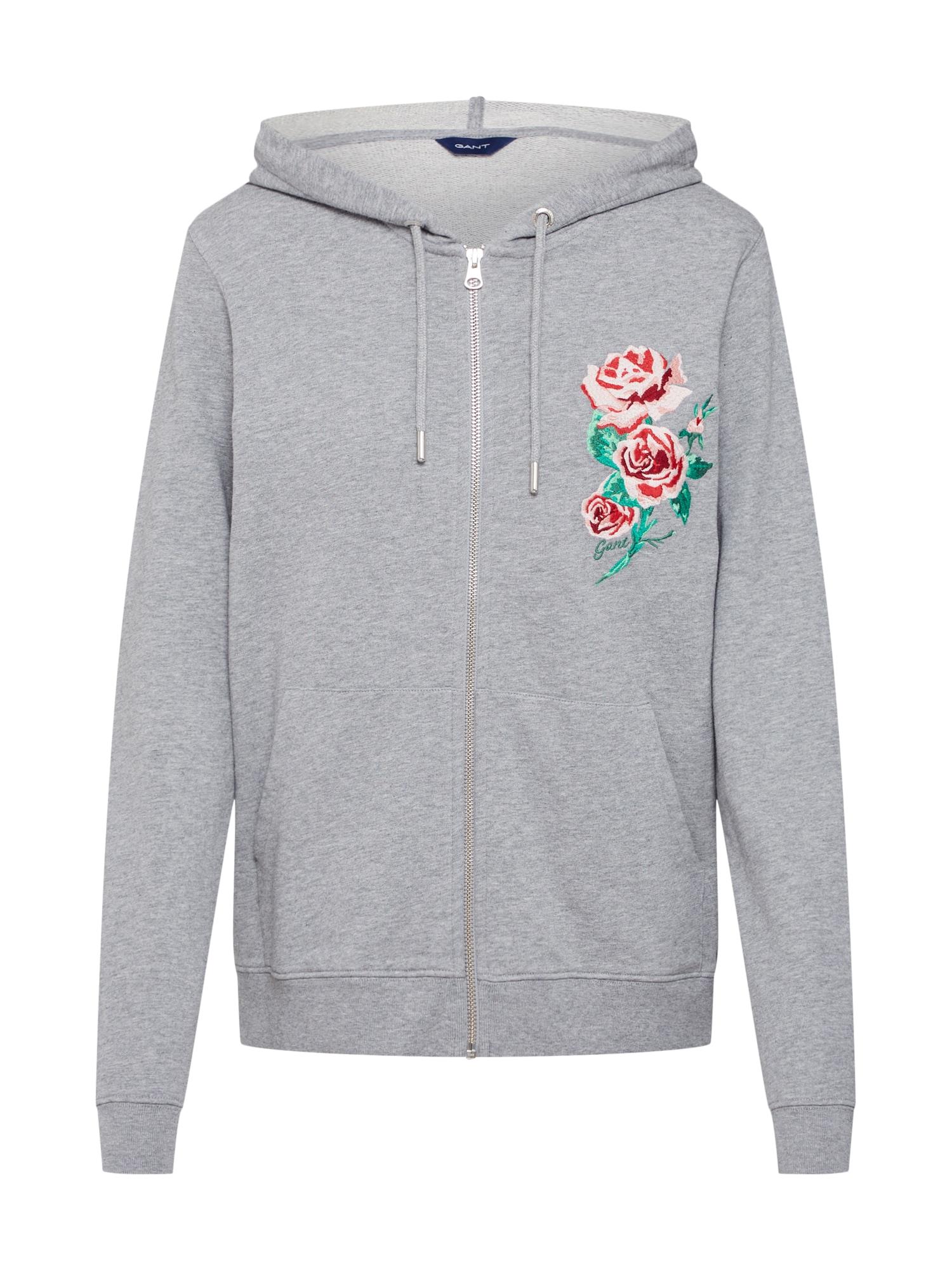 Mikina s kapucí šedý melír růžová červená GANT