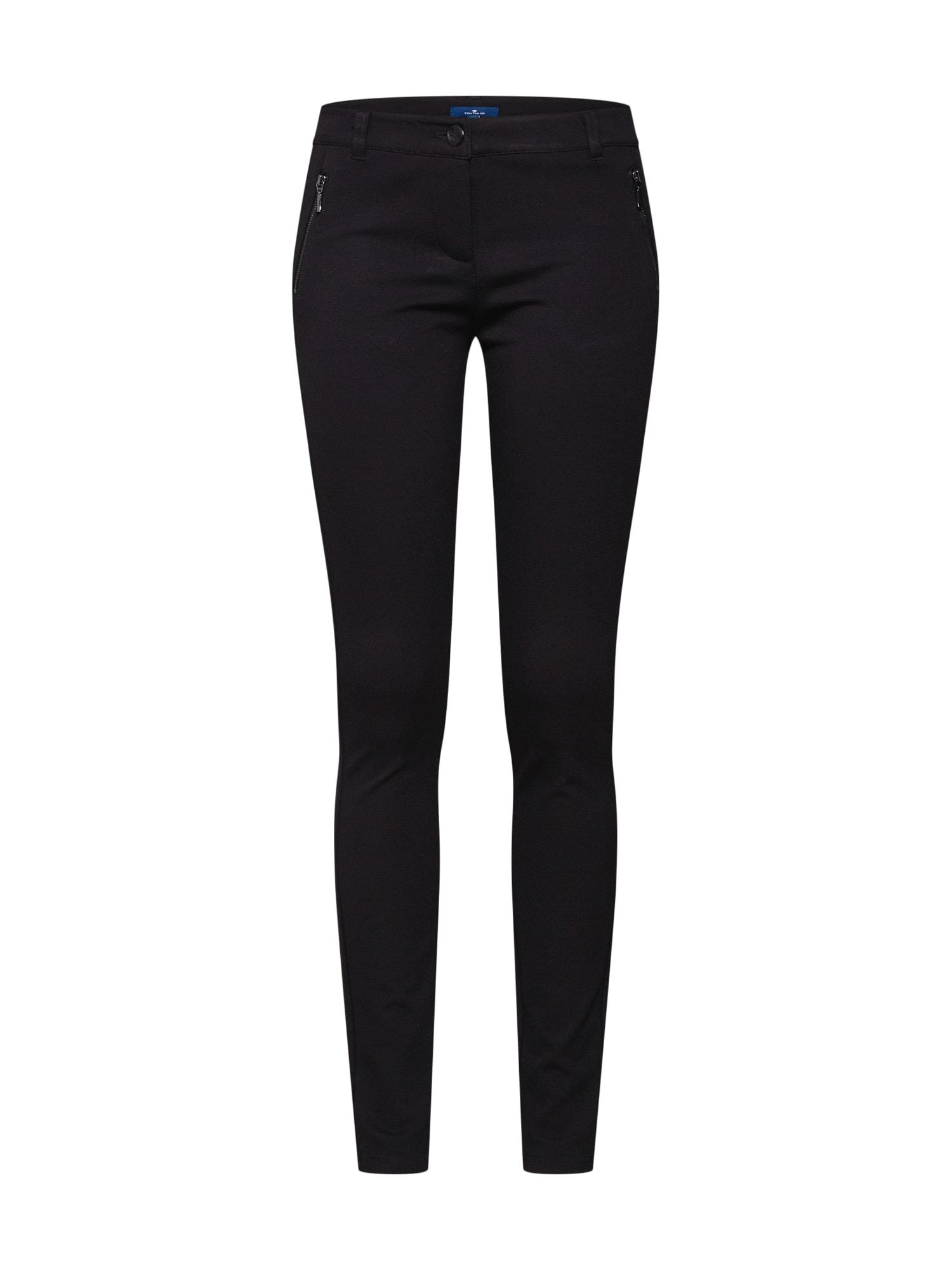 Kalhoty zipped ponte TREGGINGS černá TOM TAILOR