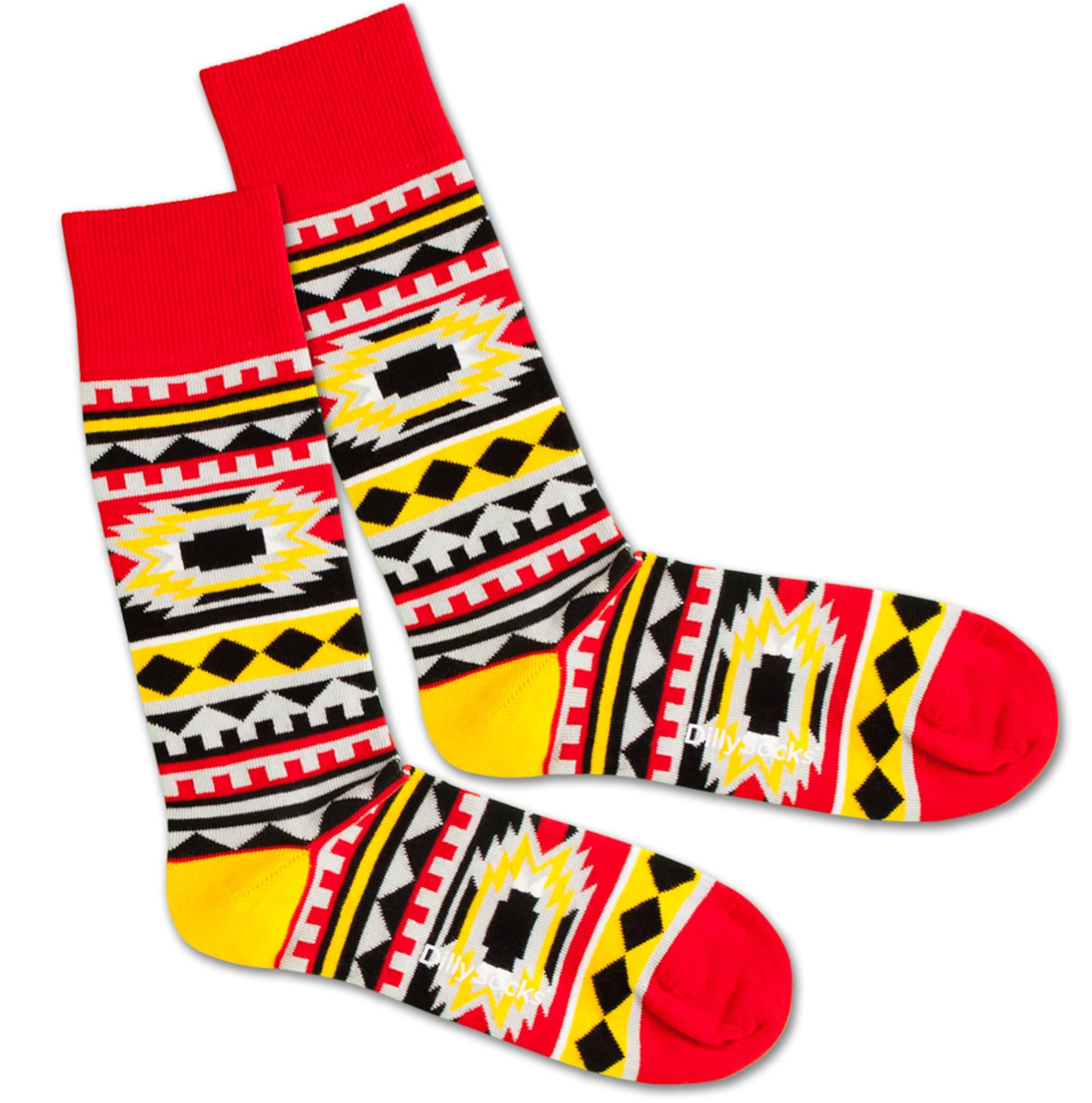 Ponožky Native Sunset žlutá červená černá bílá DillySocks