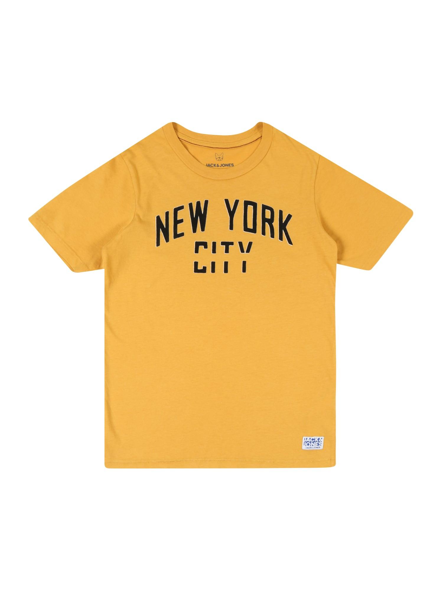 Tričko DEPT BLU žlutá černá Jack & Jones Junior