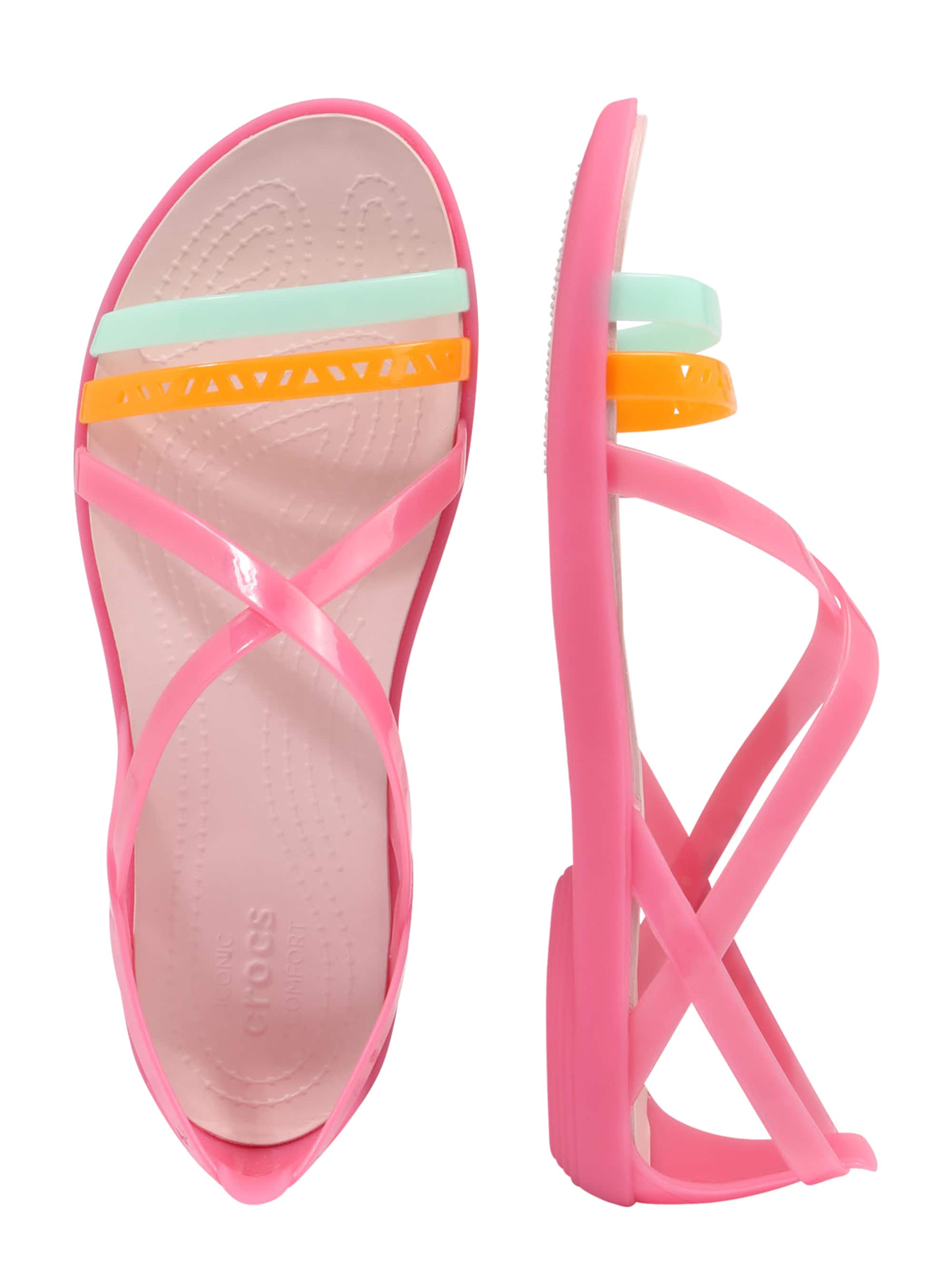 Crocs Sandały z rzemykami 'Isabella Cut Strappy'  jasnoniebieski / jasnopomarańczowy / różowy