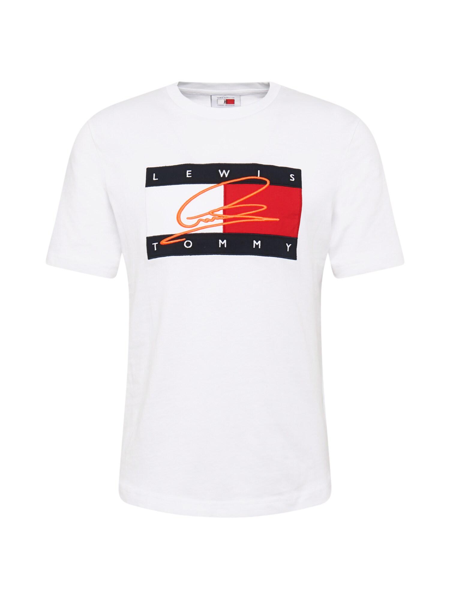 TOMMY HILFIGER Tričko  červené / biela / tmavomodrá
