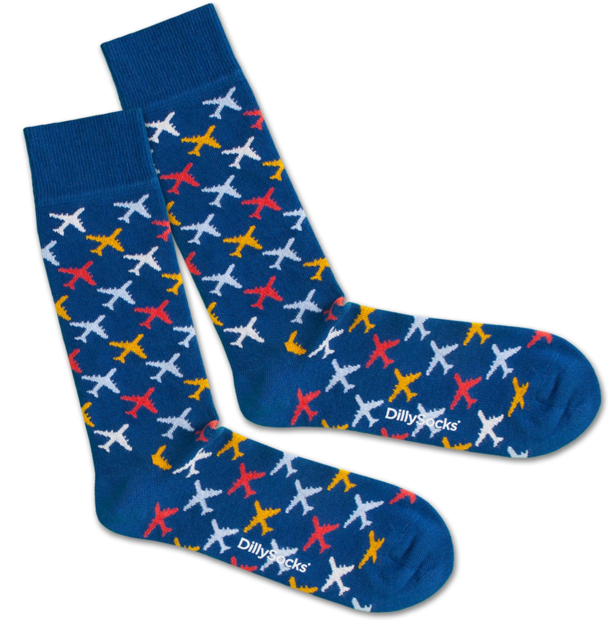 Ponožky Pilot modrá oranžová červená bílá DillySocks