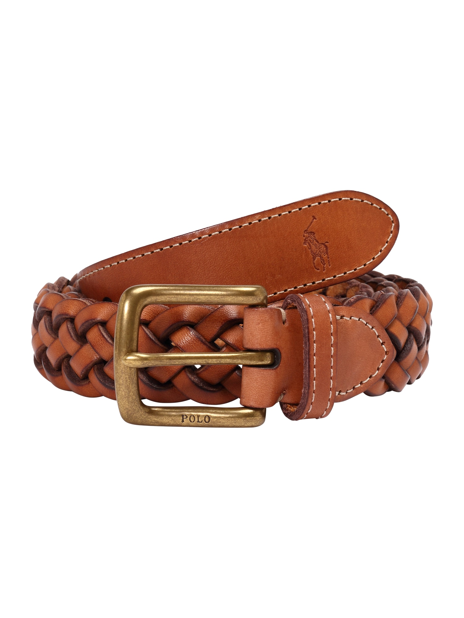 Opasek LEATHER-WSTEND BRAID-DRC-MED hnědá POLO RALPH LAUREN