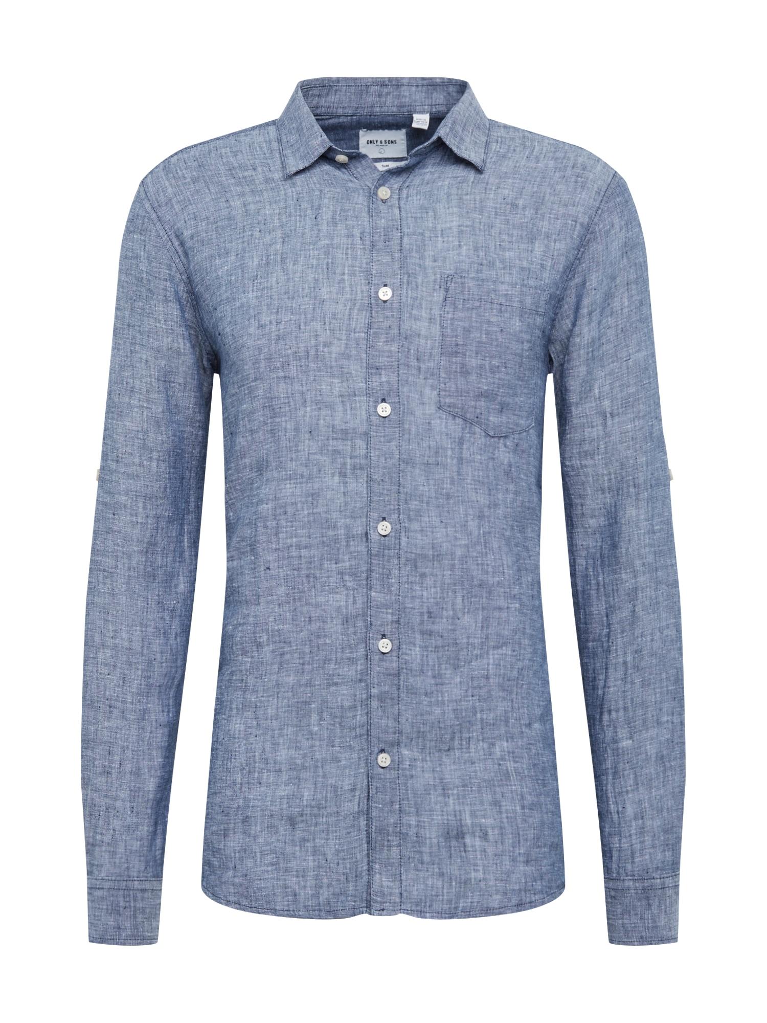 Košile onsLUKE LS LINEN SHIRT NOOS kouřově modrá Only & Sons