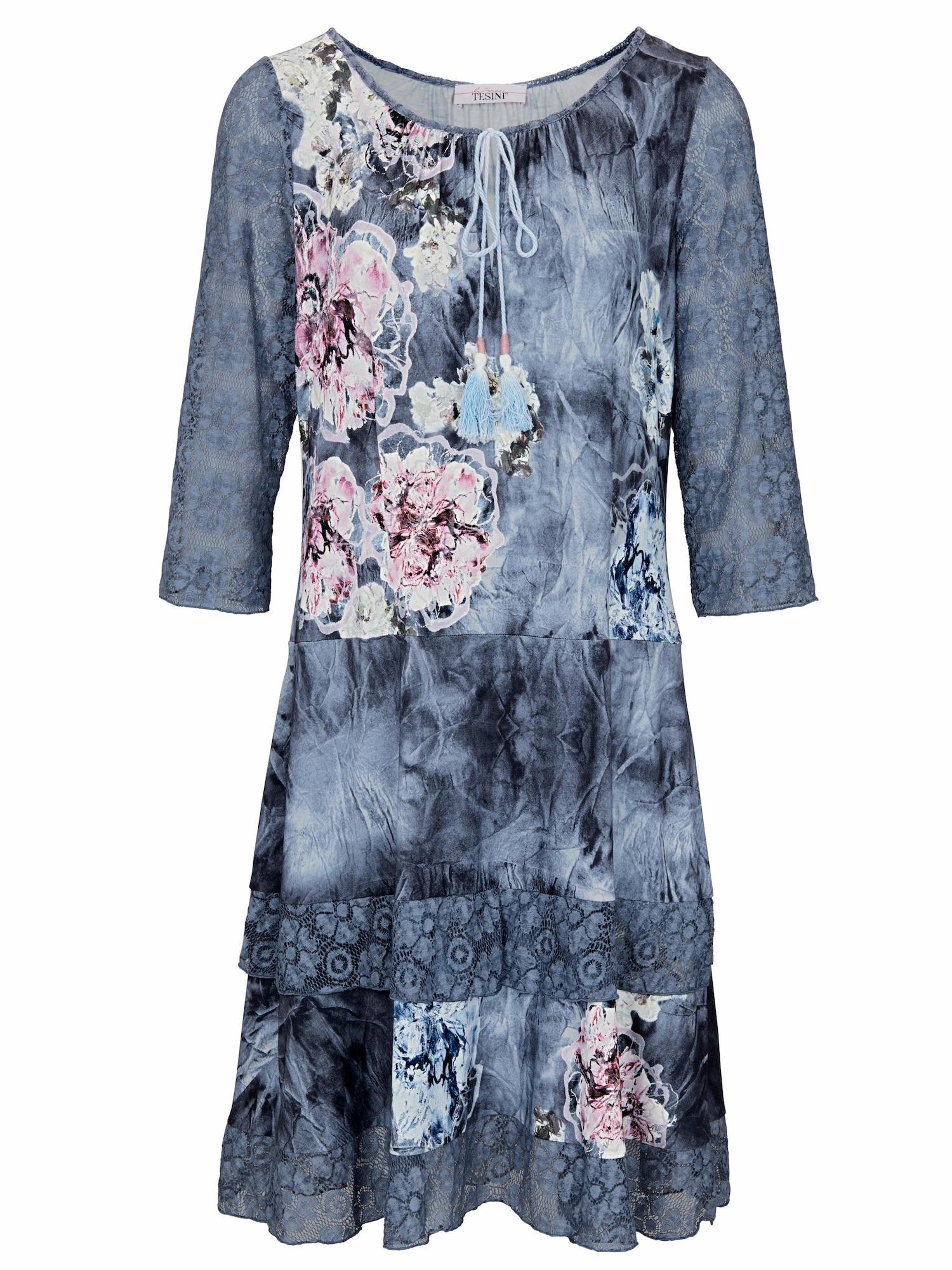 Druckkleid mit Spitze | Bekleidung > Kleider > Druckkleider | Blau - Hellblau - Weiß | heine