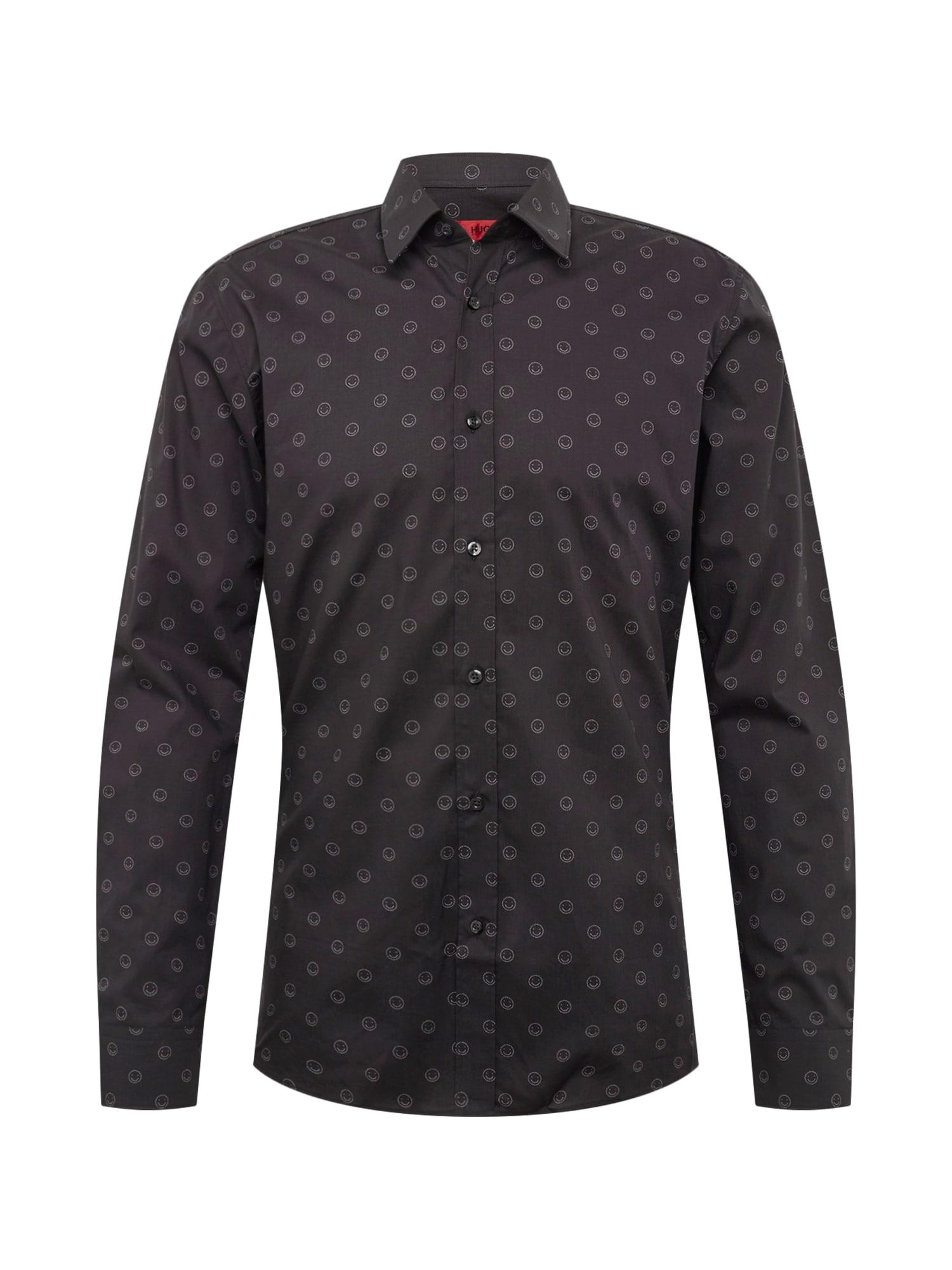 Košile Elisha01 černá bílá HUGO
