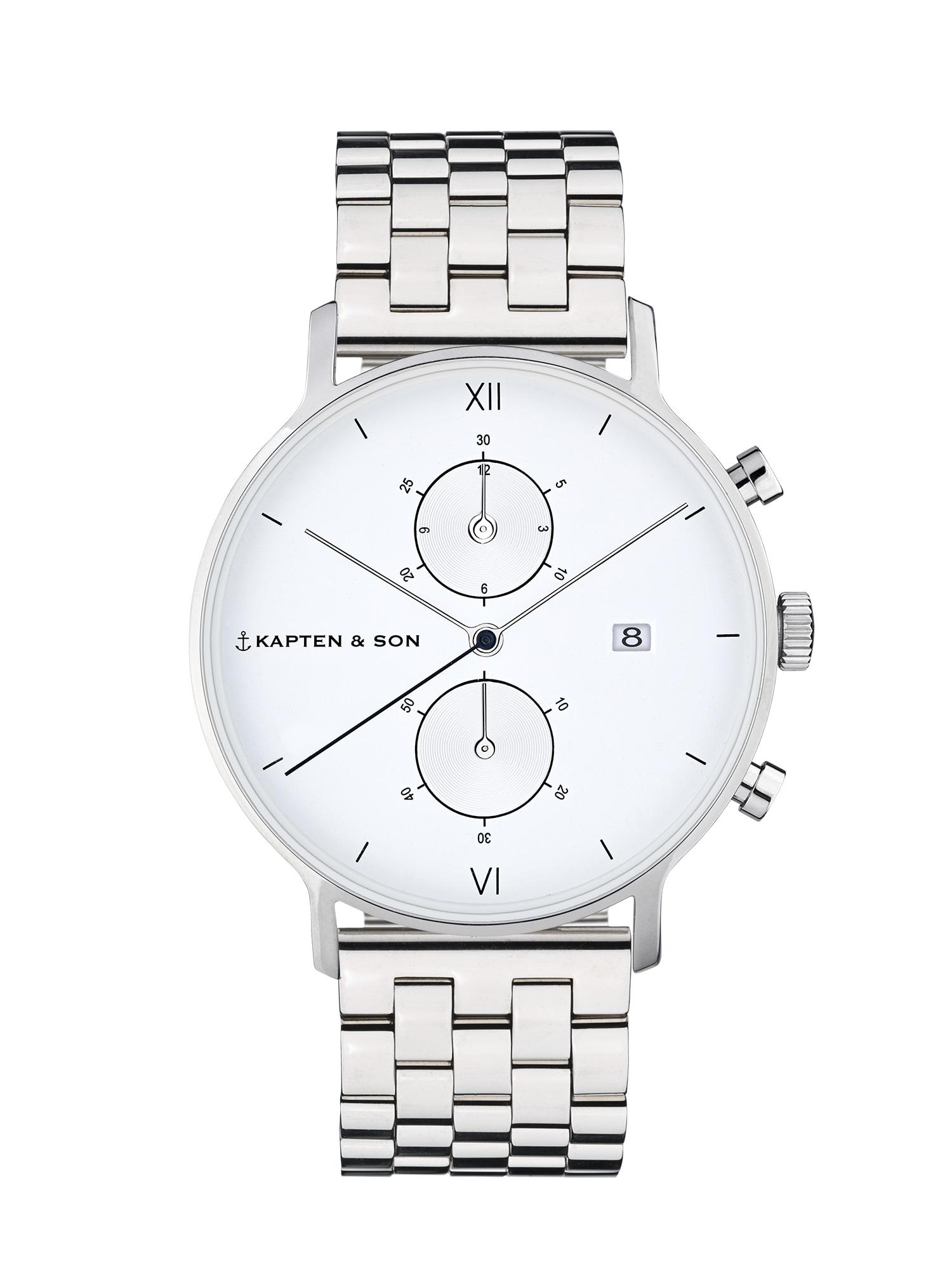 Analogové hodinky Chrono Silver Steel stříbrná bílá Kapten & Son