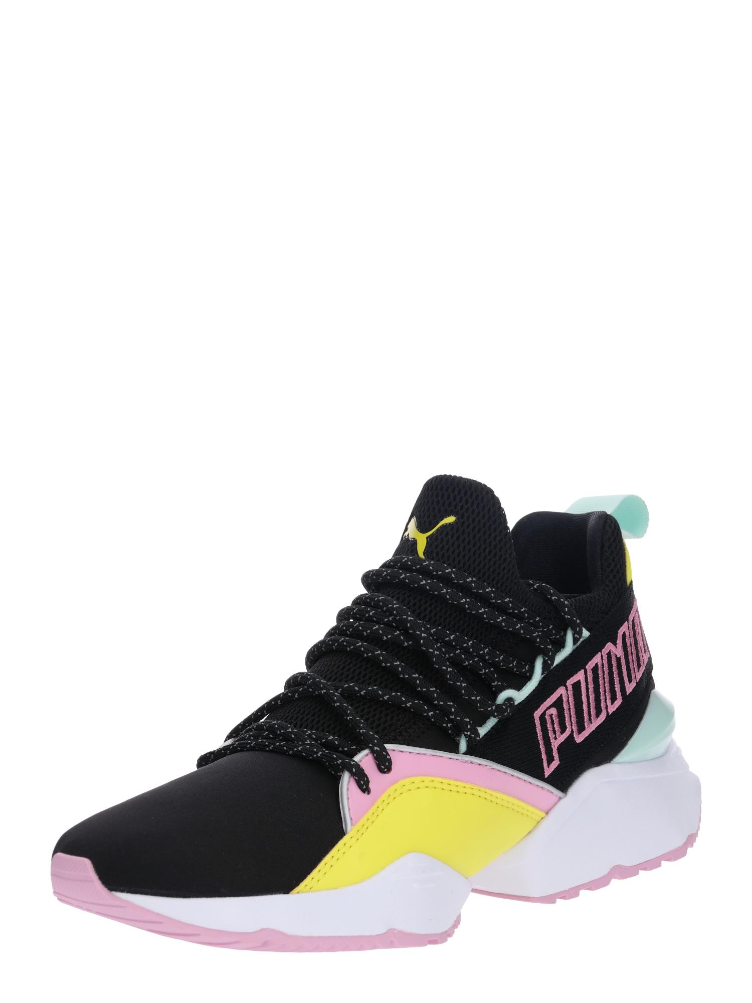 PUMA, Dames Sneakers laag 'Muse Maia', geel / mintgroen / lichtroze / zwart