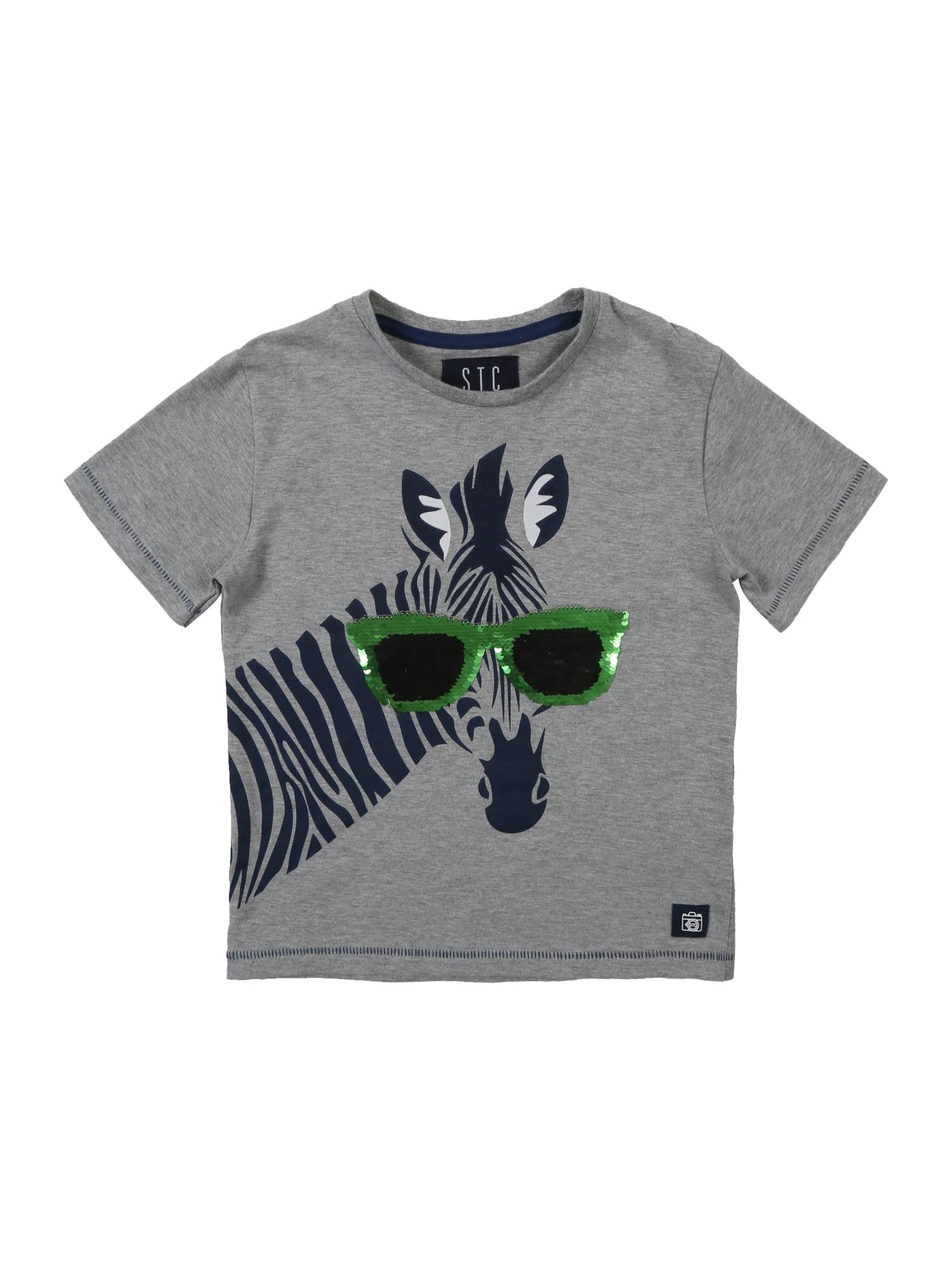 Tričko šedý melír zelená STACCATO