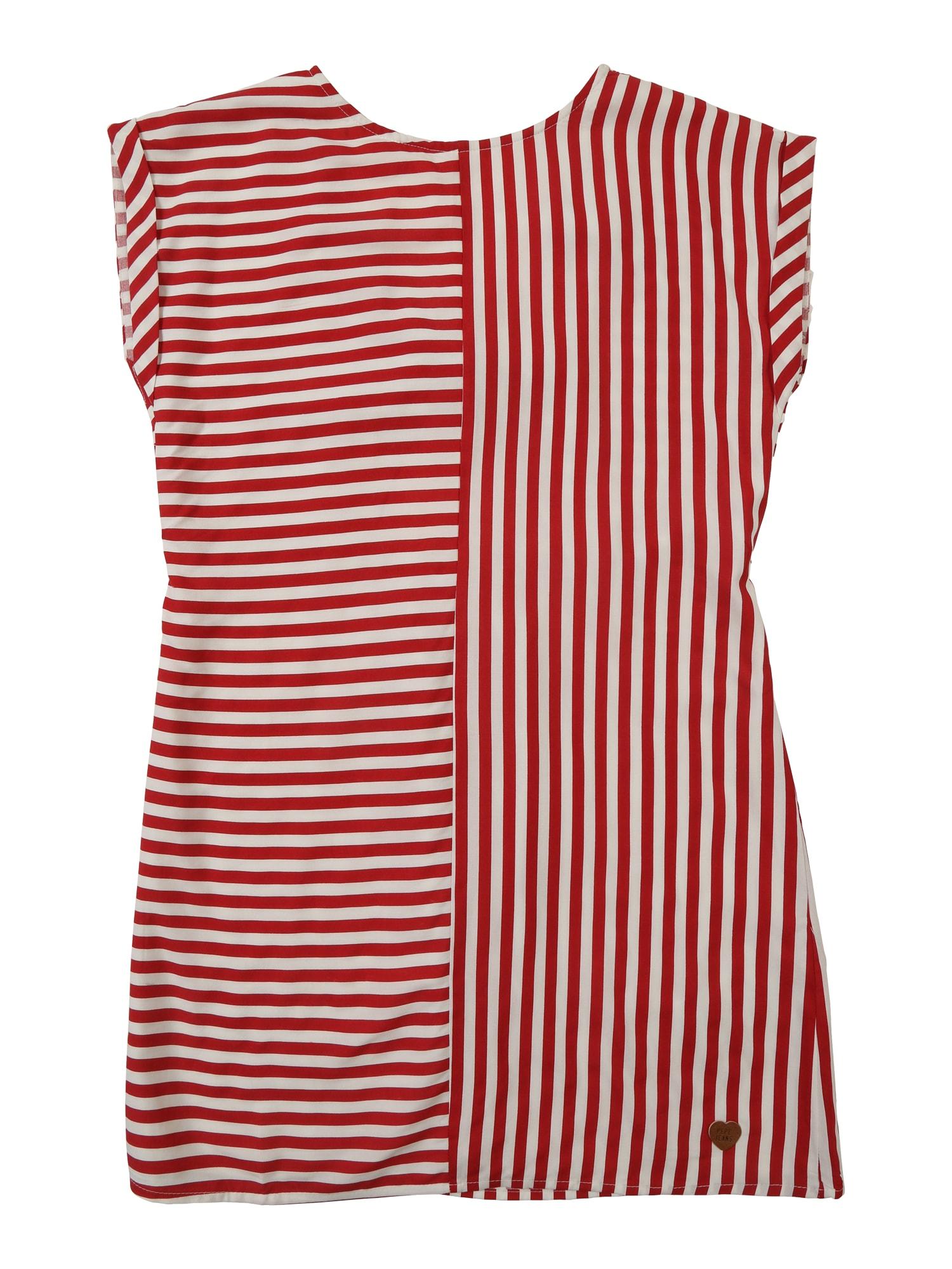Šaty JASMINE červená bílá Pepe Jeans