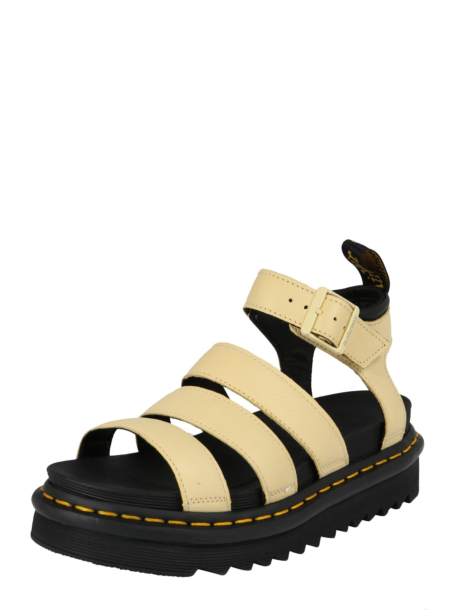 Páskové sandály Chunky Blaire pastelově žlutá Dr. Martens