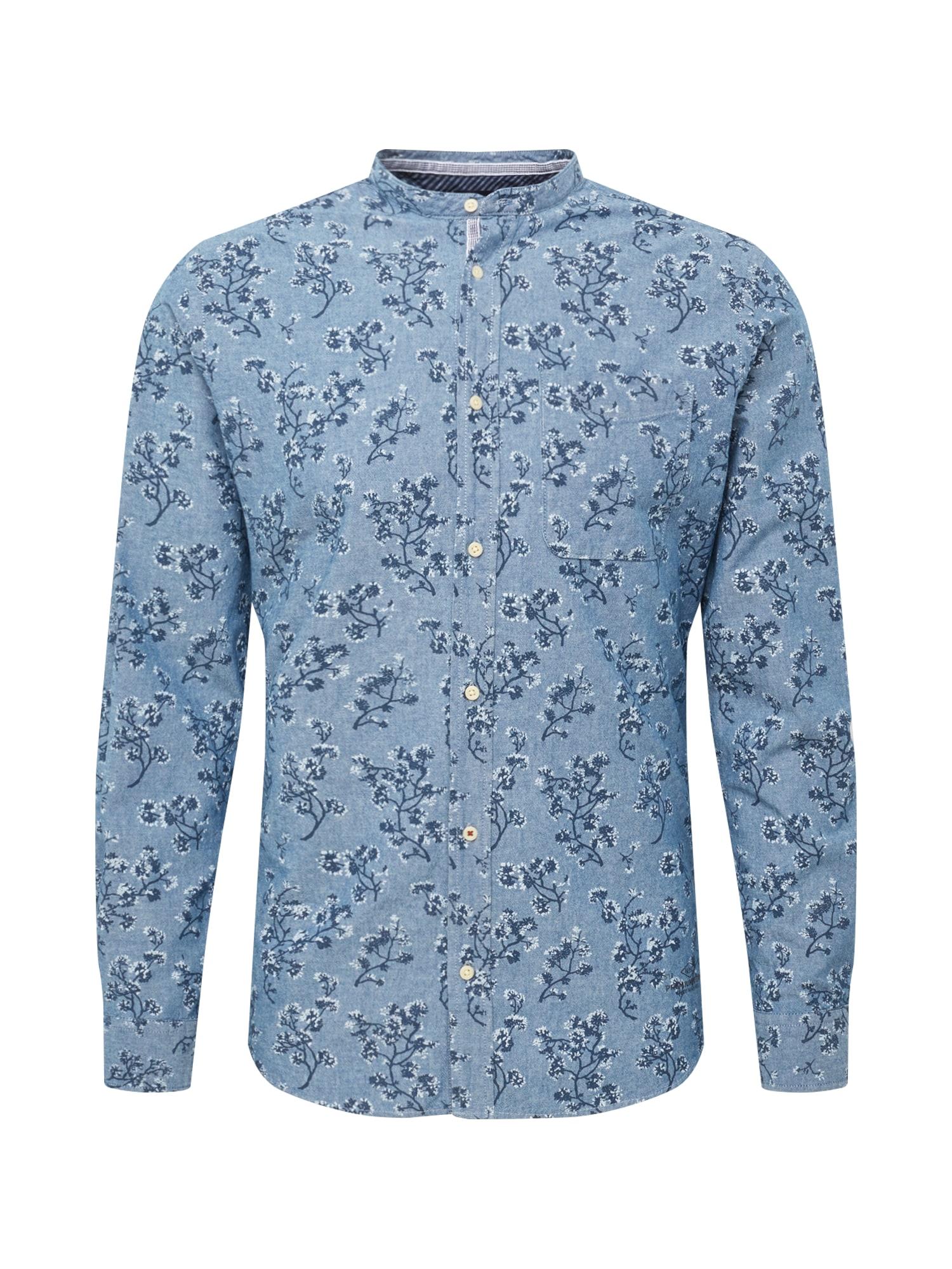 Košile JPRDEREK BAND SHIRT LS ONE POCKET modrá tmavě modrá JACK & JONES