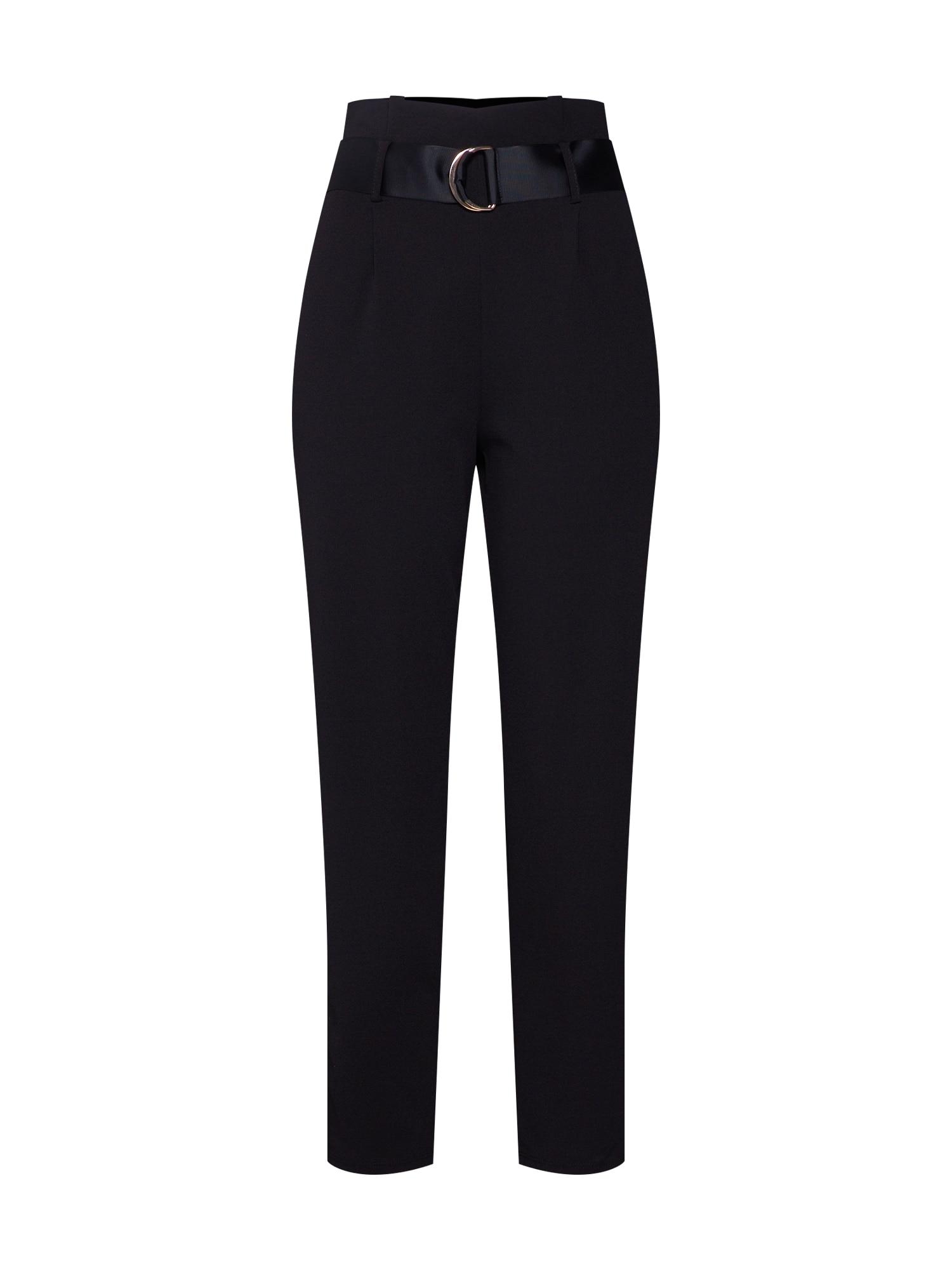 Kalhoty se sklady v pase černá Dorothy Perkins