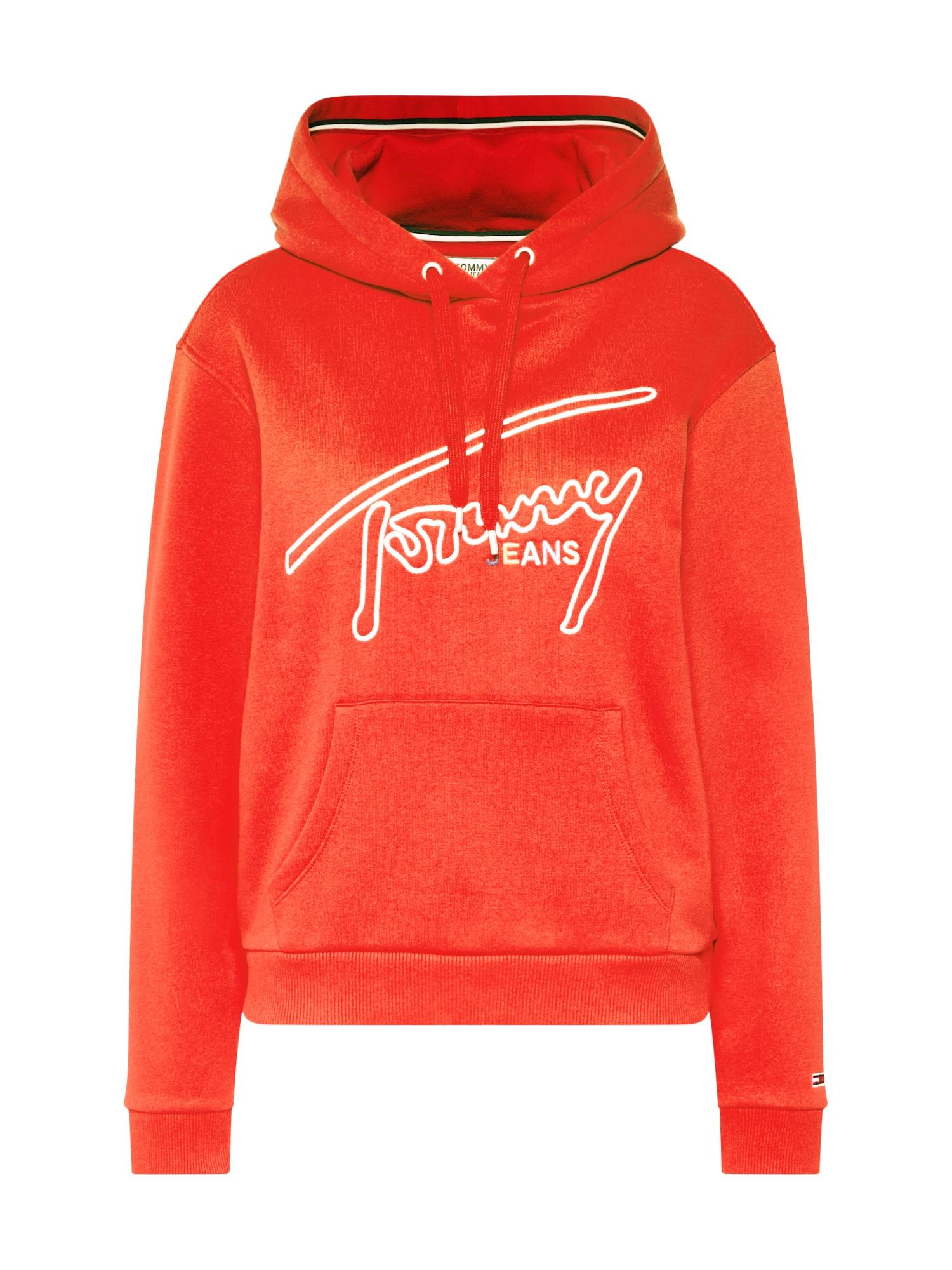 Mikina TJW TOMMY SIGNATURE HOODIE červená Tommy Jeans