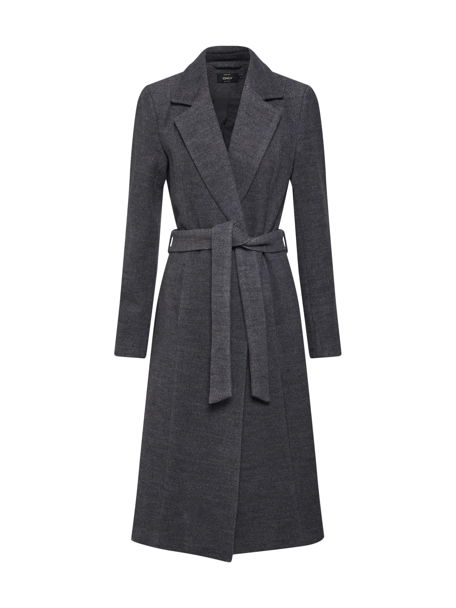 Přechodný kabát tmavě šedá šedý melír ONLY